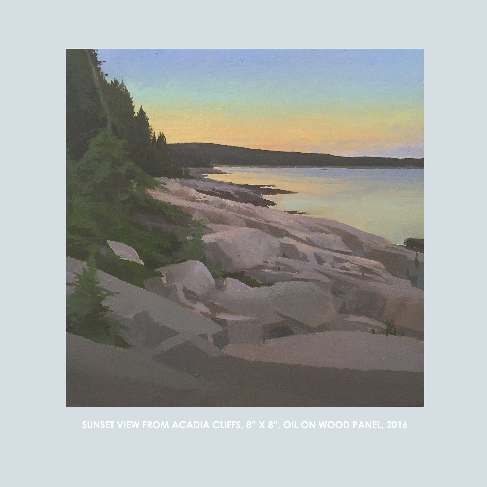 """Copy of Christopher S. Tietjen painting: SunsetView from Acadia Cliffs, 8x8"""", Oil on Wood Panel, 2016"""