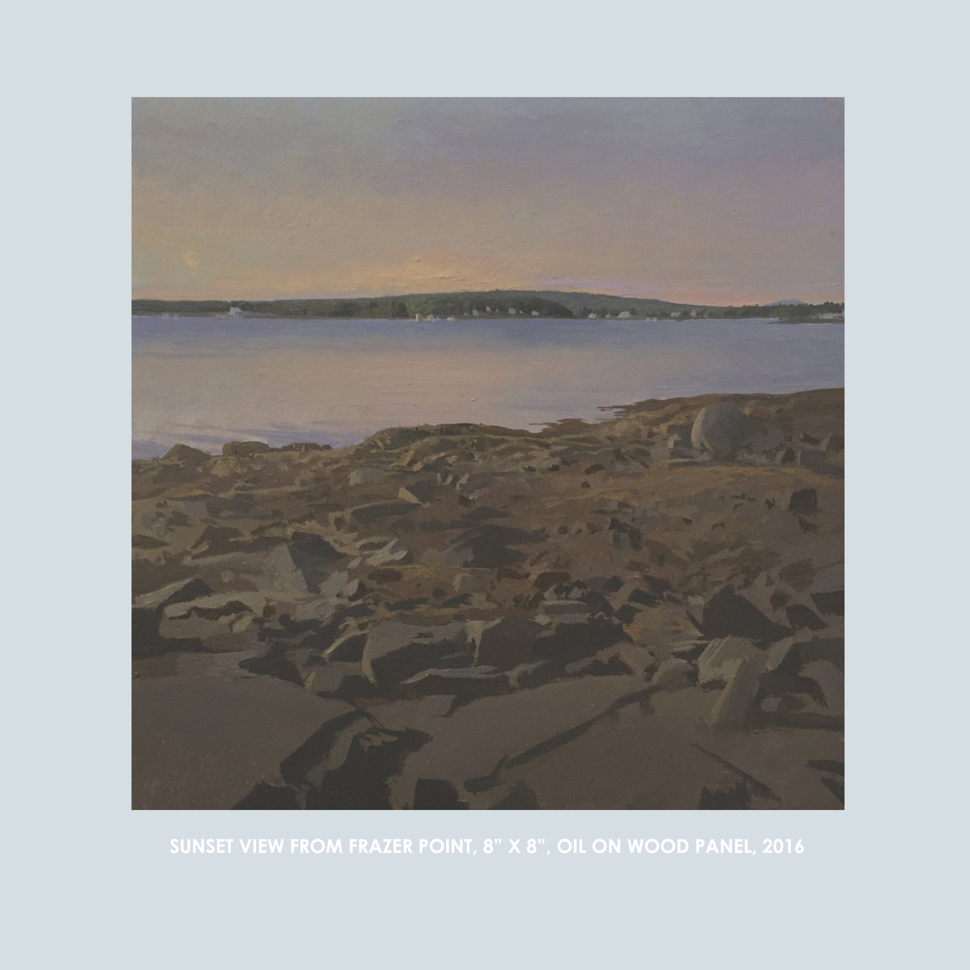 """Copy of Christopher S. Tietjen painting: SunsetView from Frazer Point, 8x8"""", Oil on Wood Panel, 2016"""