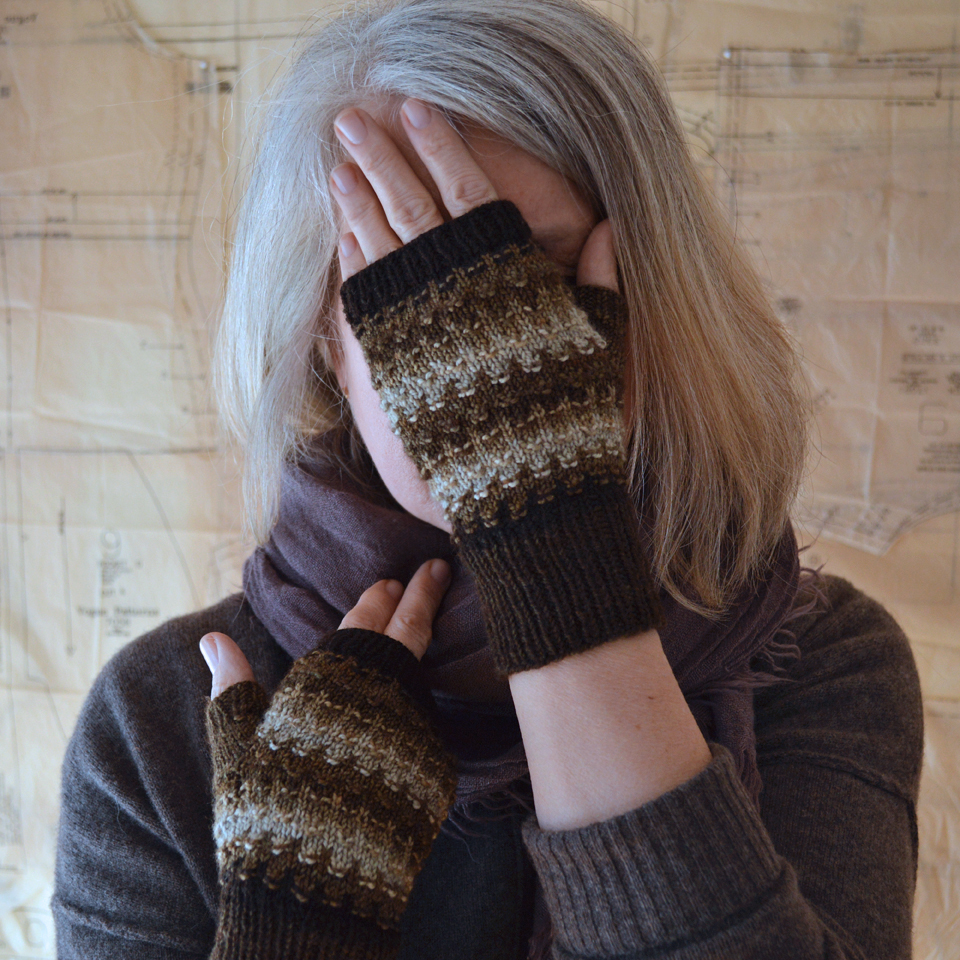 Purlish Mitts by Bonnie Sennot of Blue Peninsula, using Pigeonroof Studios mini-skein sets.