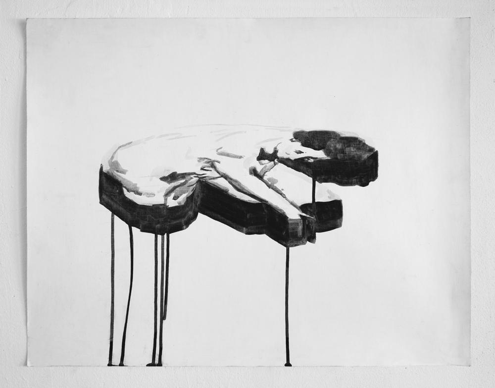 "Tilted Bather–Ink  | Ink on paper | 15 x 17"" | 2014"