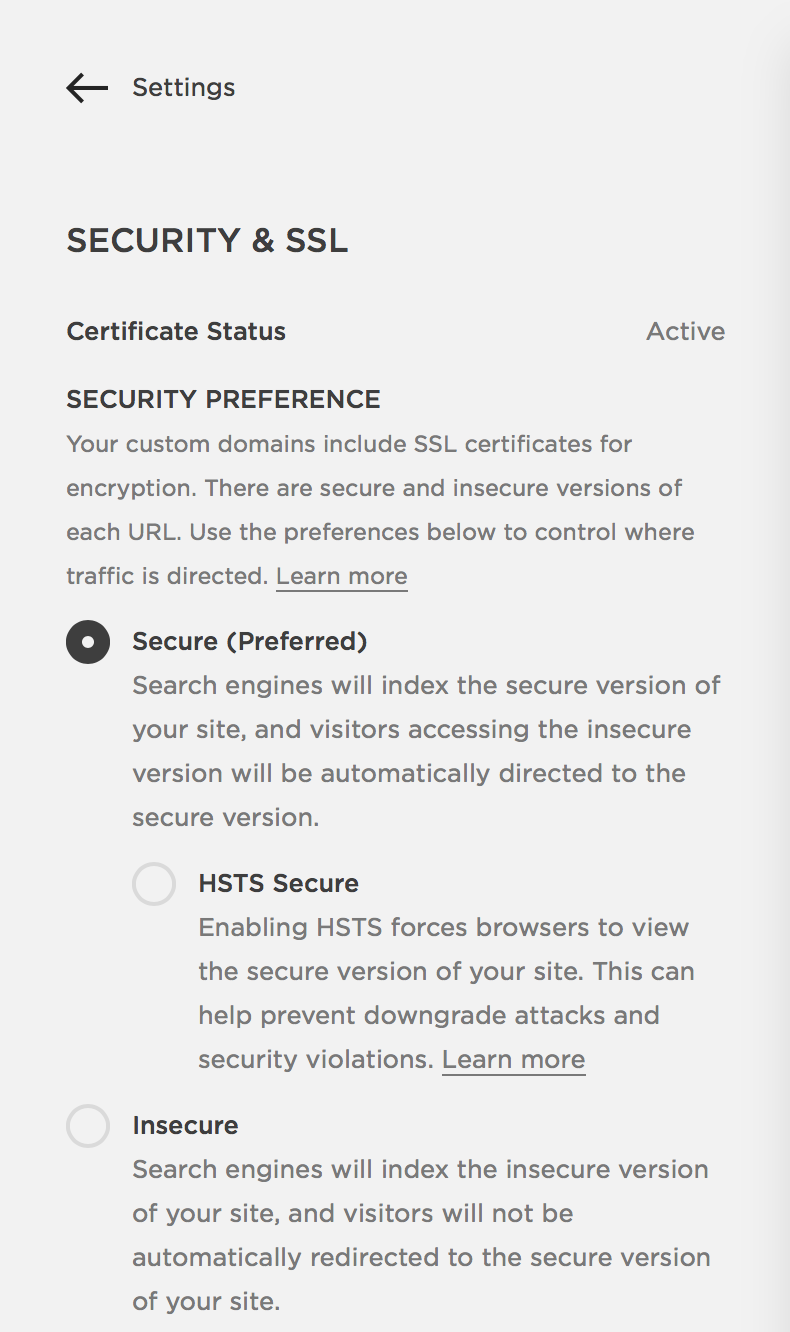Squarespace security and SSL