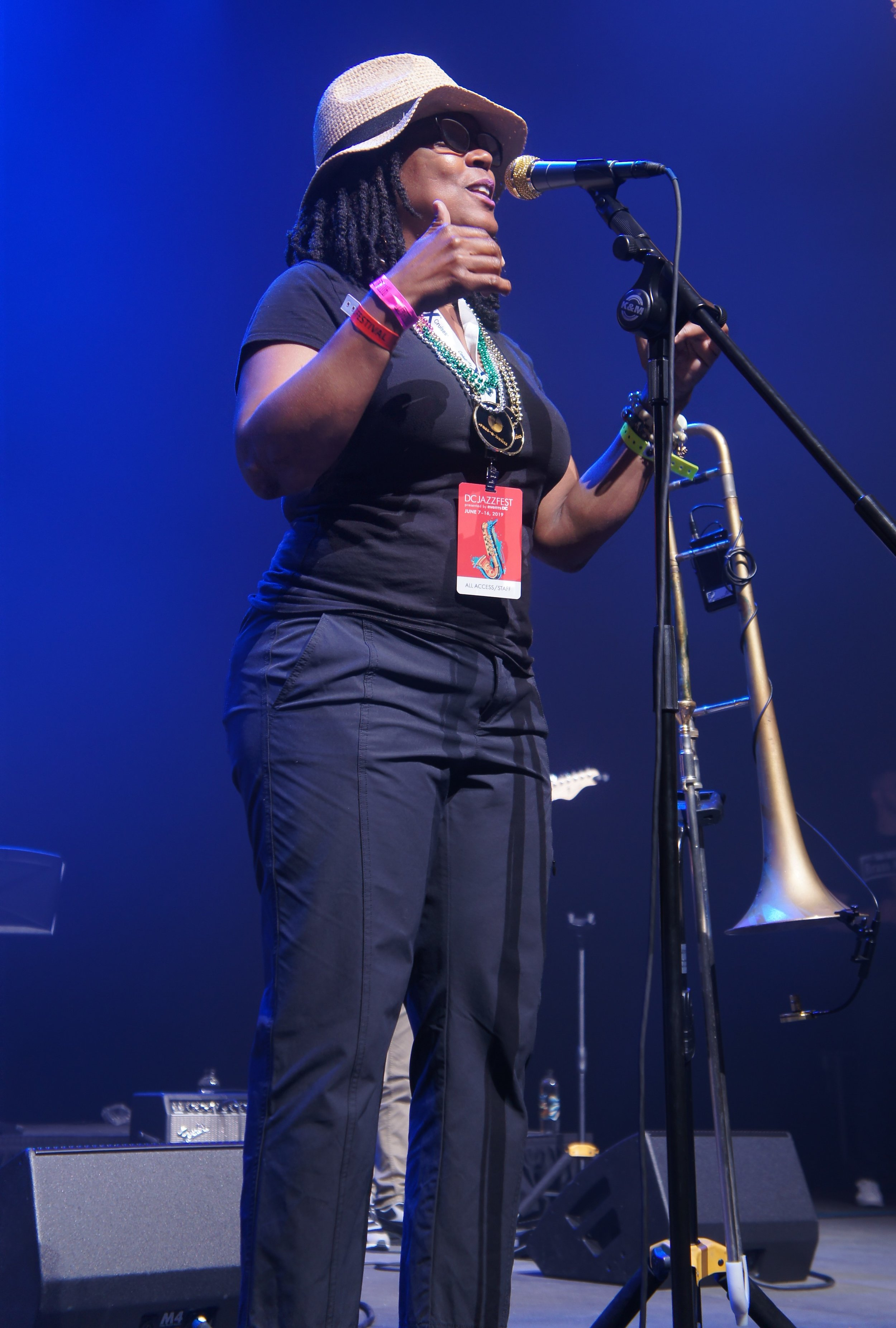 DC Jazz Festival's Executive Director, Sunny Sumter, introducing the Brass-A-Holics at The Anthem 6/15/19 (photo by Bridget Arnwine)