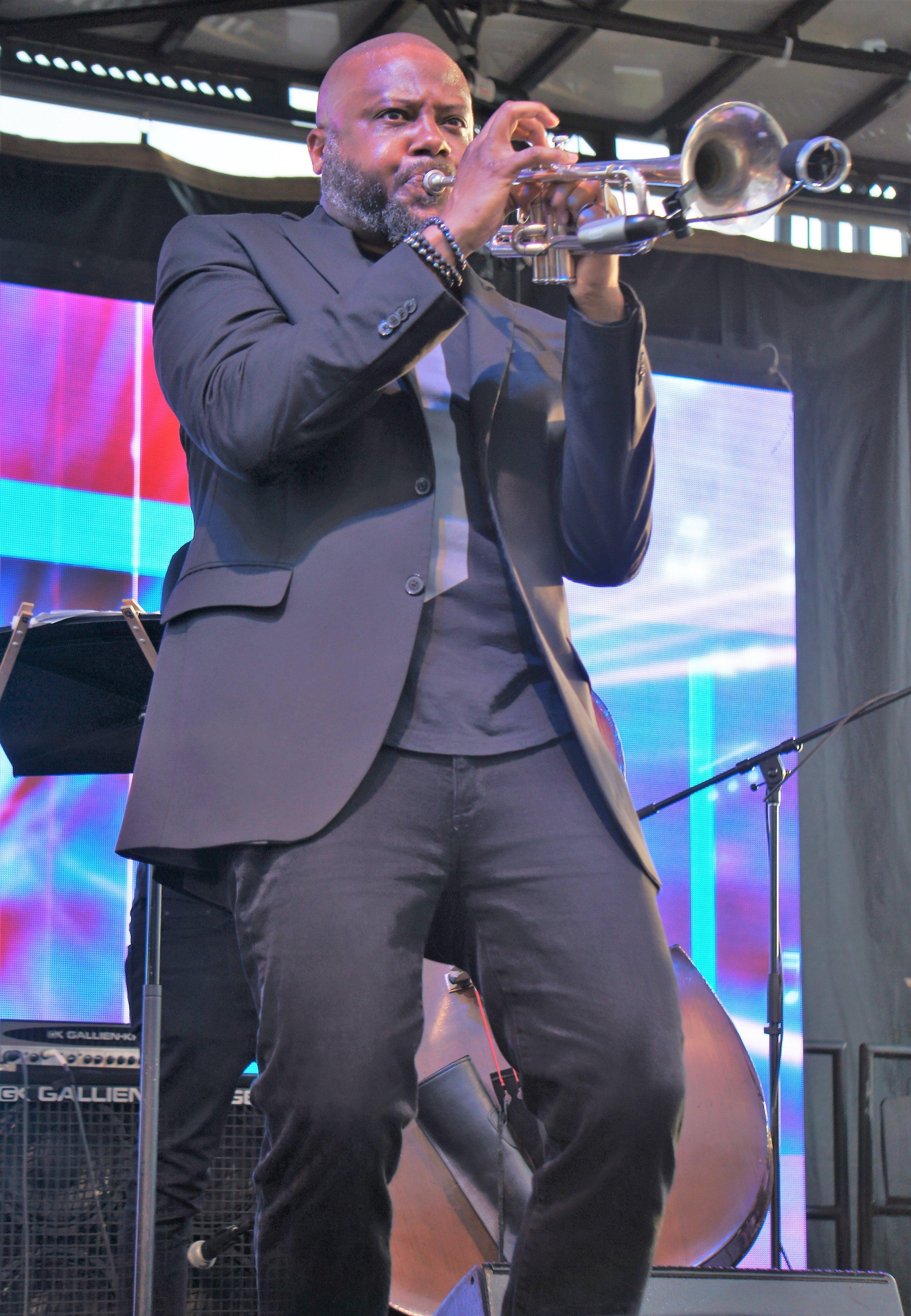 Trumpeter Sean Jones performing at The Wharf (photo by Bridget Arnwine)
