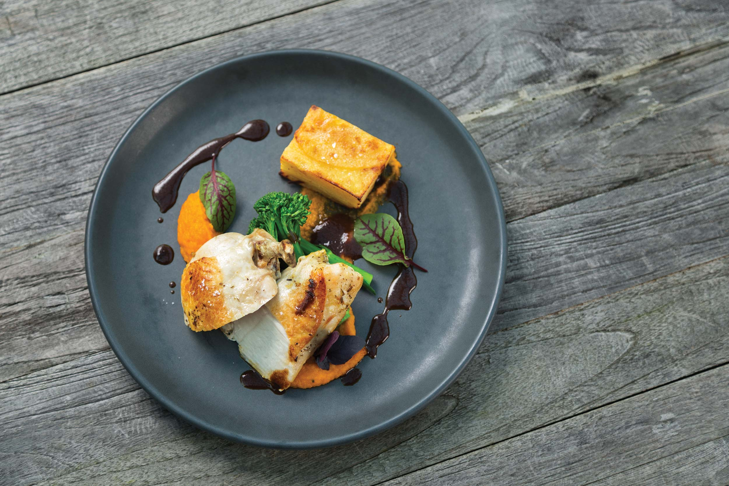 A beautiful chicken dish for your event, using the freshest local produce.