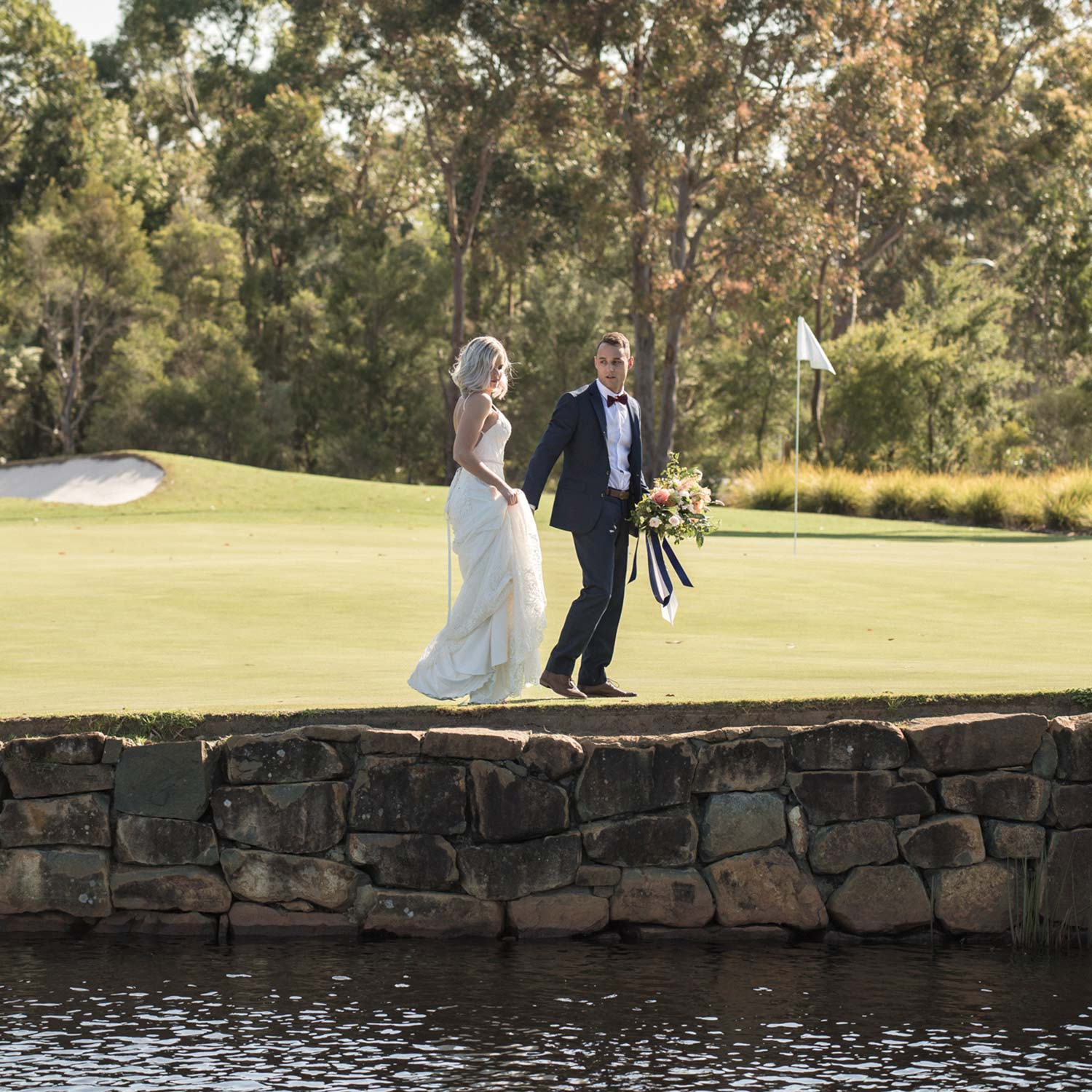 Bride and Groom Wedding Day on Golf Course