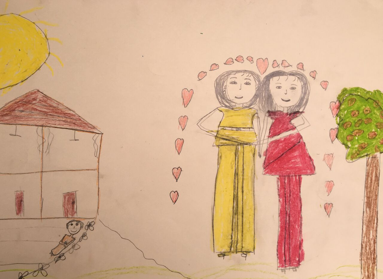 A drawing by a 9-year-old girl living in poverty in a home made of metal cans with her sisters and mother. Her picture reflects her dreams of a house and family.