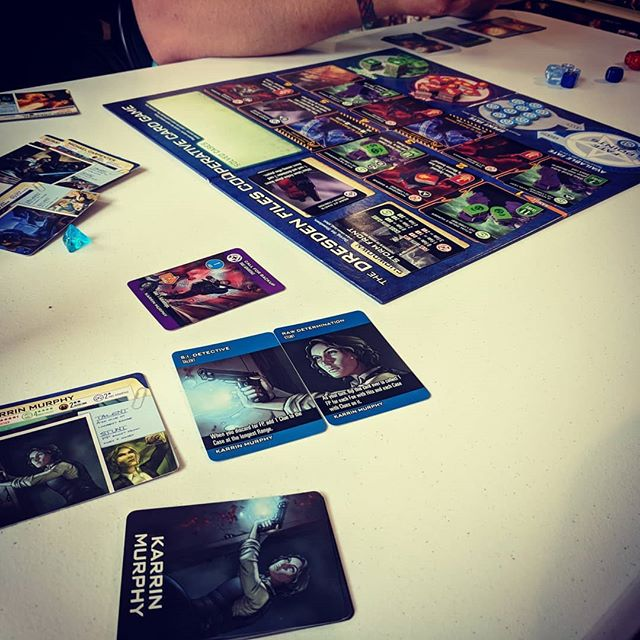 We got to try out the Dresden files cooperative card game with one of our friends and key holder @ccdapperpenguin ❤️❤️ what a fun, and CHALLENGING, game!!!! It totally simulated the books for us, and took a ton of cooperation! #SFGameChest #GameChestCommunity . . . #gameshop #dresdenfiles #dresdenfilescooperativecardgame #boardgamegeek #CardGame #DTSiouxFalls #hifromsd #FLGS #LocalGameStore