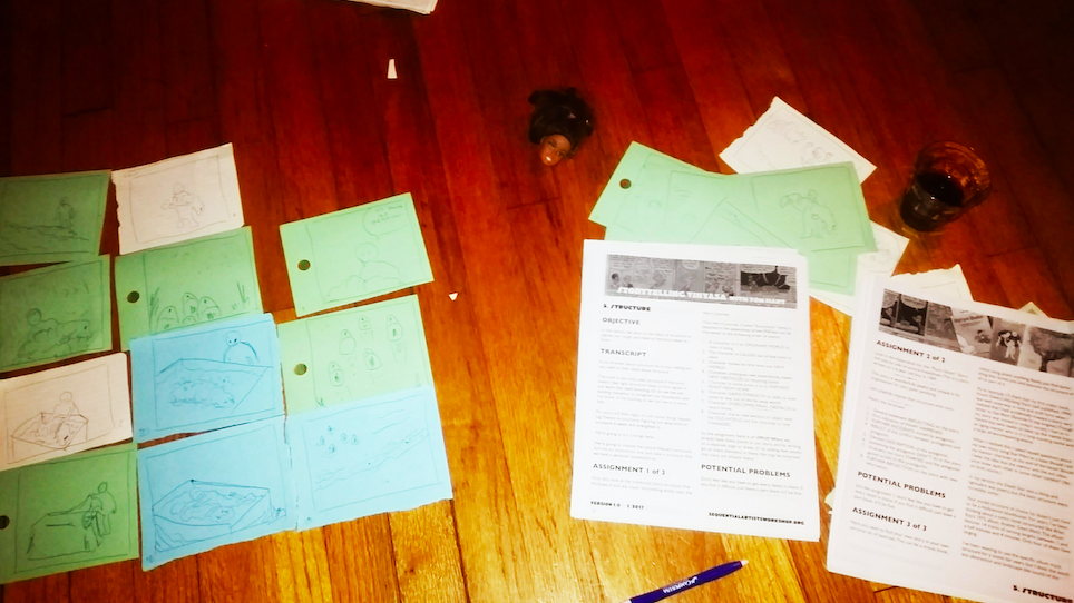 Papers and drawings everywhere, forms and directions. Random doll head and beverage optional.