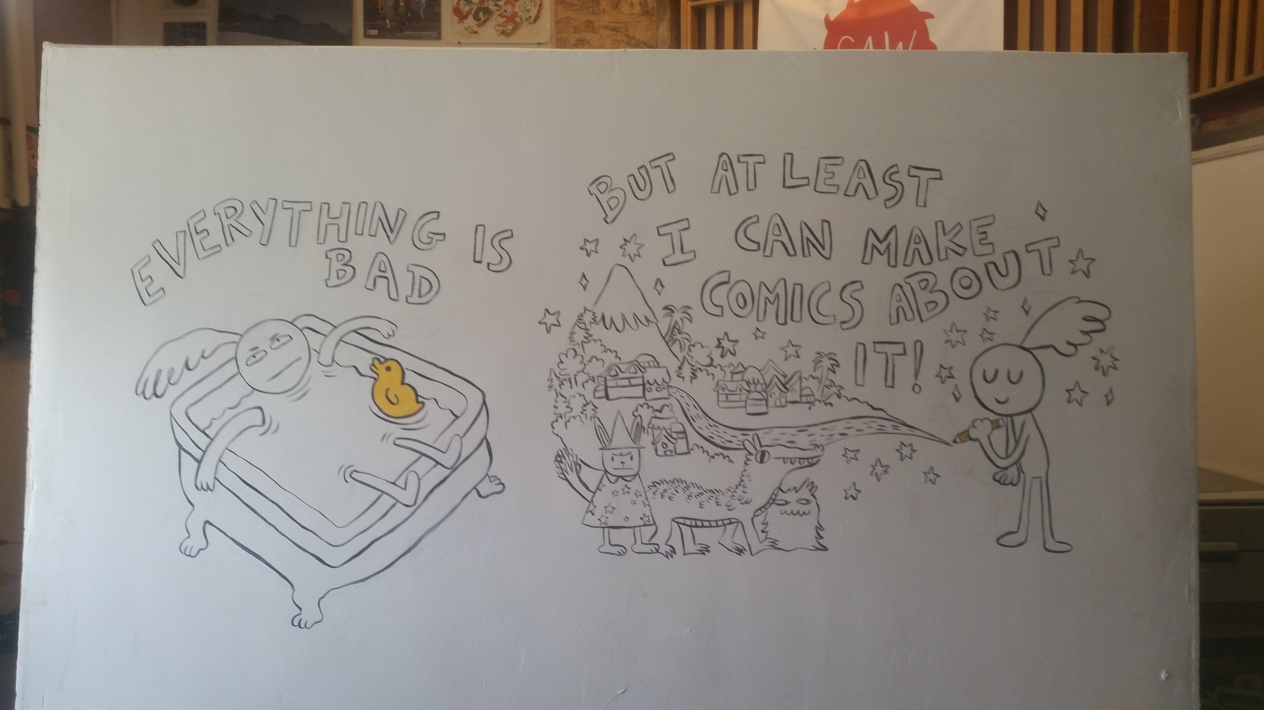 Past student, Miranda Harmon, 'Everything is Bad, But at Least I Can Make Comics About It'.