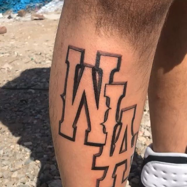 """Here is a custom """"WLA"""" design I created using @unionmachine & @bigsleepsink . Thanks to Michael for trusting me on his first  tattoo .you know where you seen it first . It all starts with a sketch then on to skin 🙏🏼 hopefully I make merchandise with this design in the near future 👀 #westla #losangeles #dontbite #wla #lettering #letters #monogram #alfonsogarcialettering"""