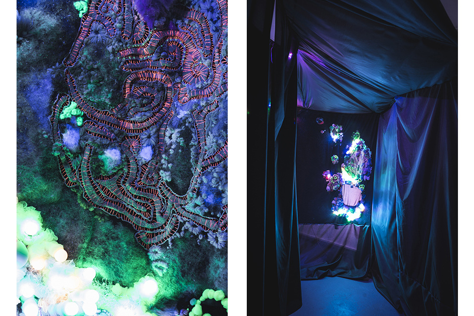 Louise Meuwissen x Lotte Schwerdtfeger     Intense Intents In Tents,  2014   Felt, cotton, wool, fur, faux-fur, plastic beads, glass beads, chiffon, synthetic lining, rope, ceramic with glaze, coloured LED, black light  Dimensions variable  Exhibited at Seventh Gallery