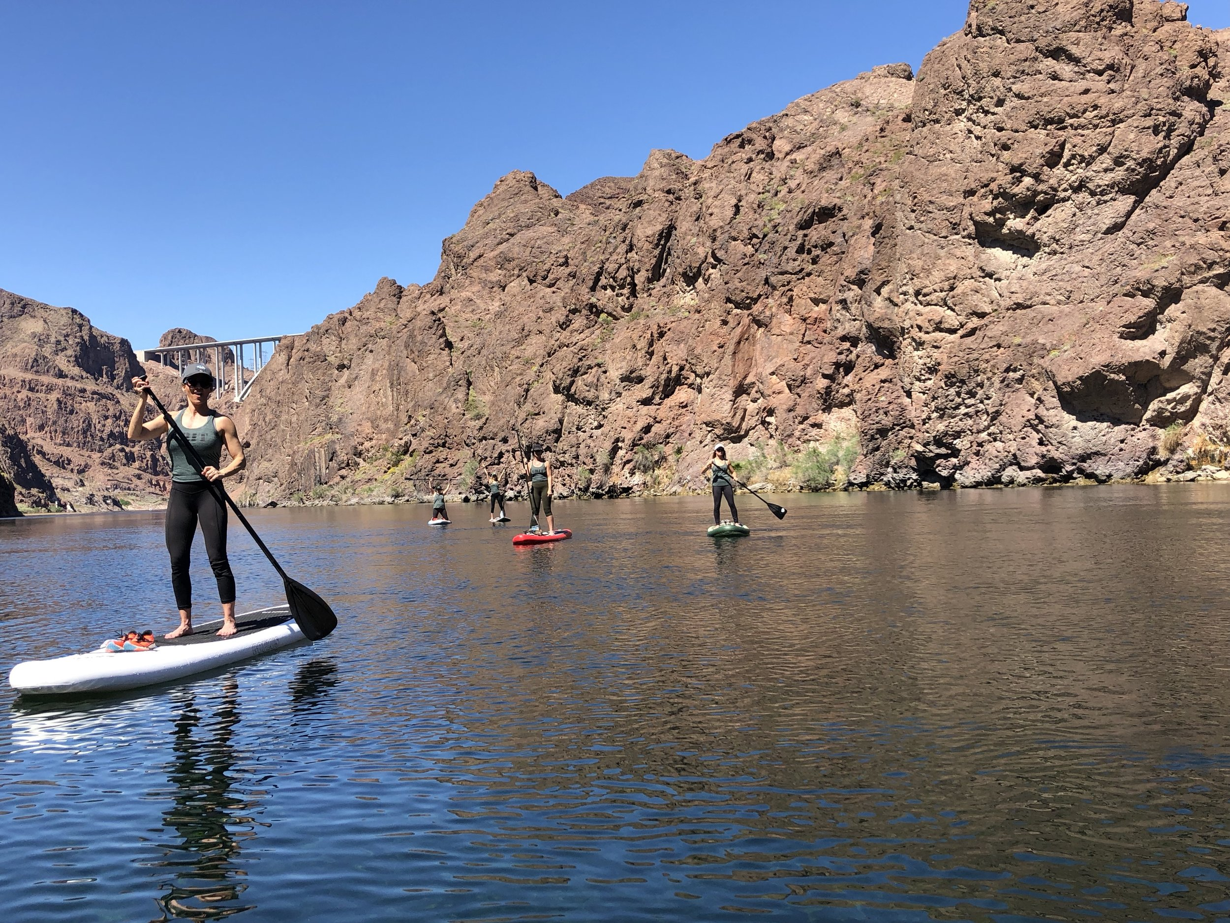 """G.R.I.T. """"Extreme"""" Experience - After hiking 2.5 hours, these strong women paddled their SUPs (stand up paddleboards) down the Mojave River 3 miles to the Arizona hot springs where we had lunch together."""