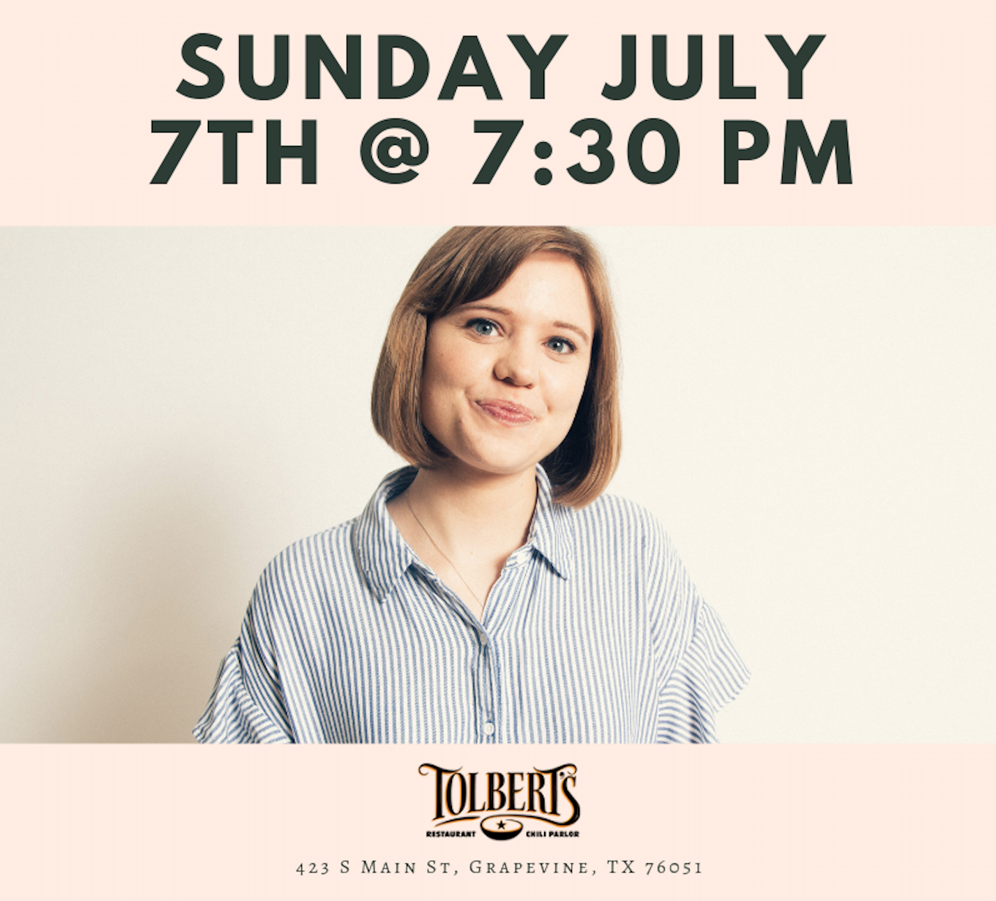Live at Tolbert's Chili Parlor - When: Sunday, July 7th at 7:30 PMWhere: 423 S Main St. Grapevine, TX 76051Cost: Free :)Why: Because why not?