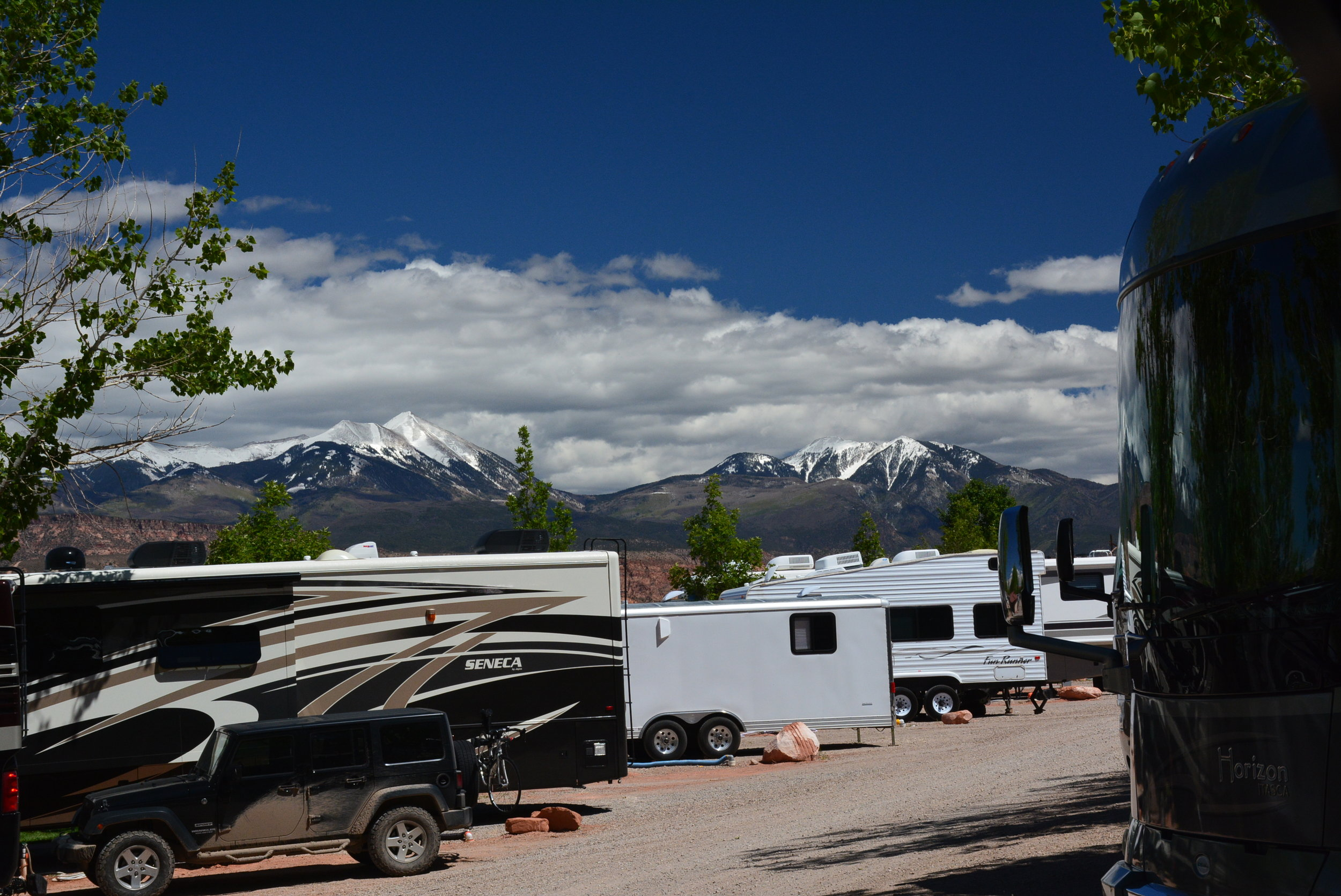 View from our spot in Spanish Trails RV Park, Moab Utah