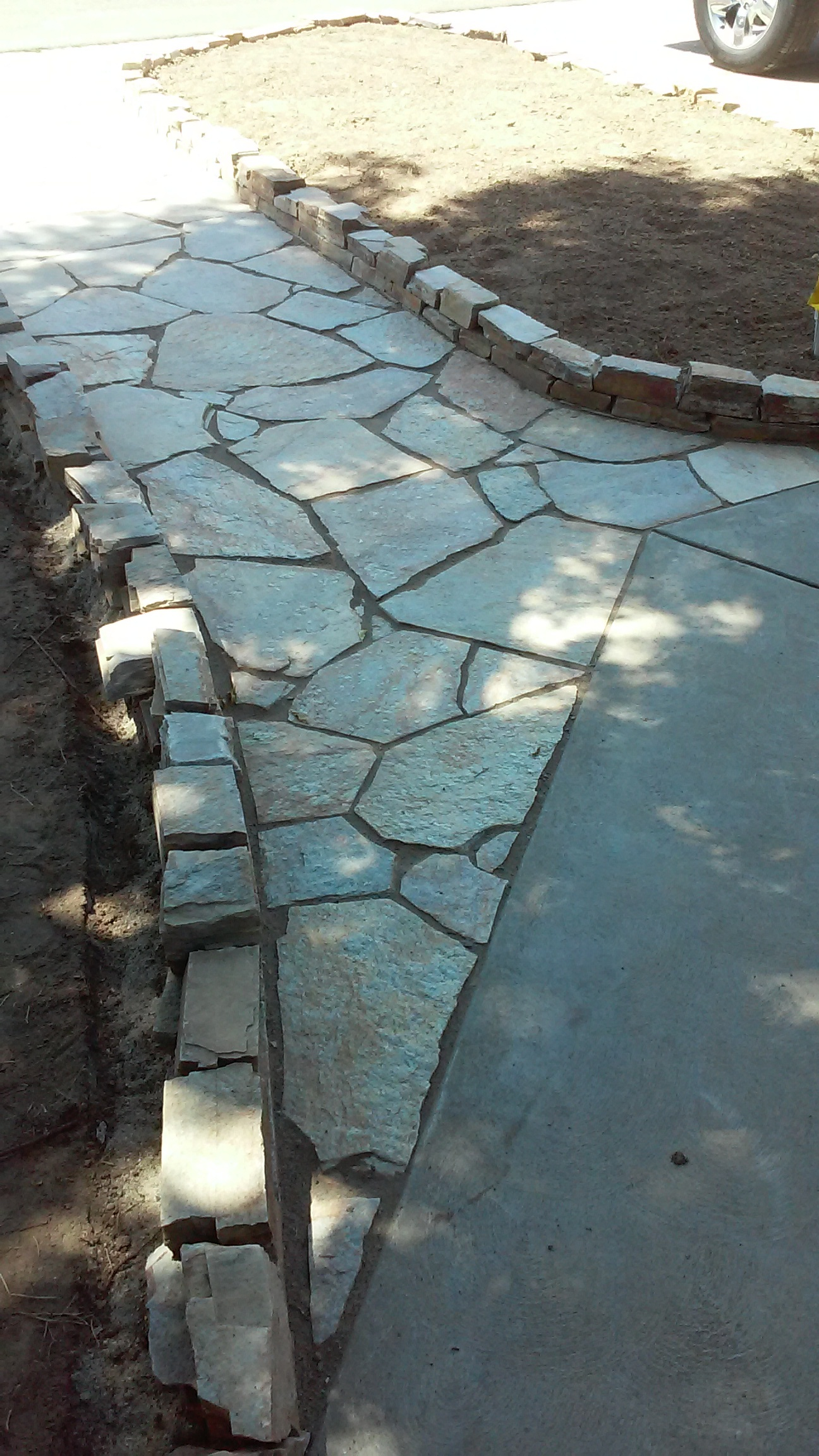 Flagstone meets concrete walk