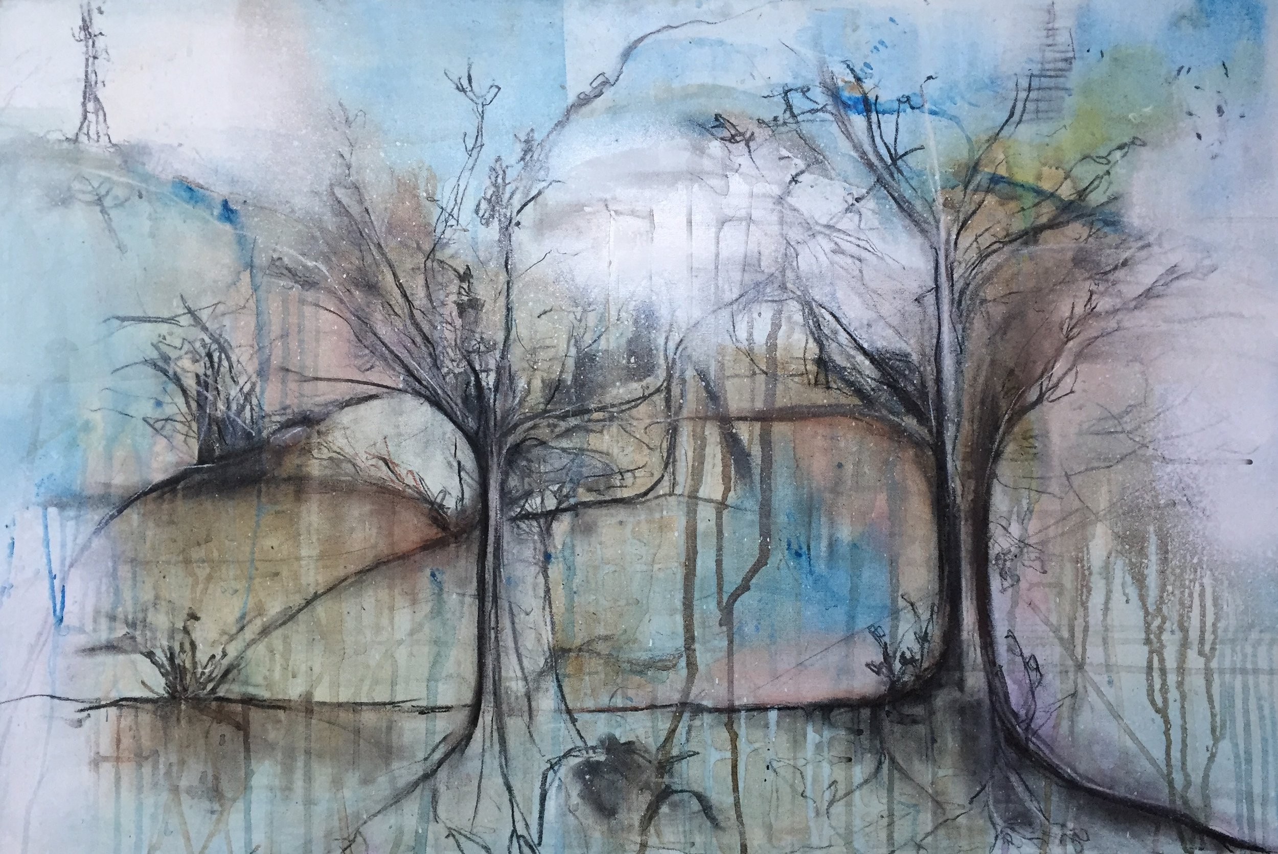 'Two Lovers' 90cm x 60cm Mixed Media on Canvas