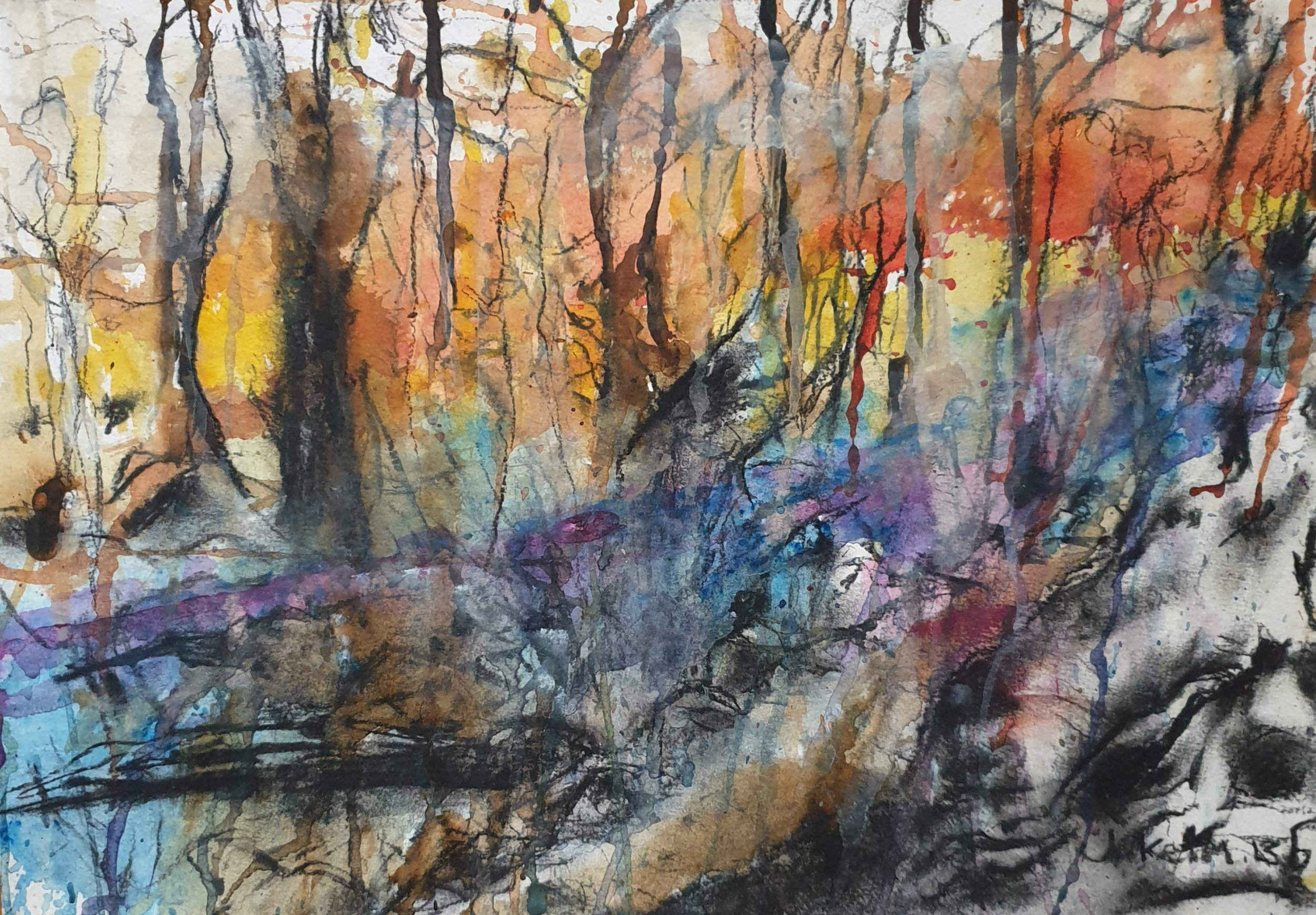'Fire Walk With Me' Mixed Media 29.7cm x 42cm