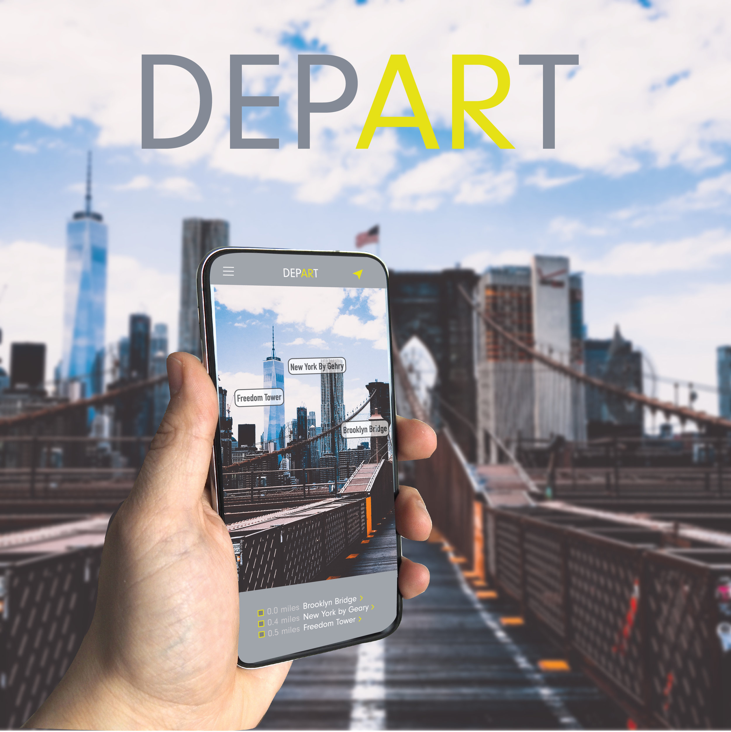 DEPART Augmented Reality Travel - A location-based app with customizable augmented reality tours and travel guides.Sightseeing tours on-demand and at the touch of your finger tips.