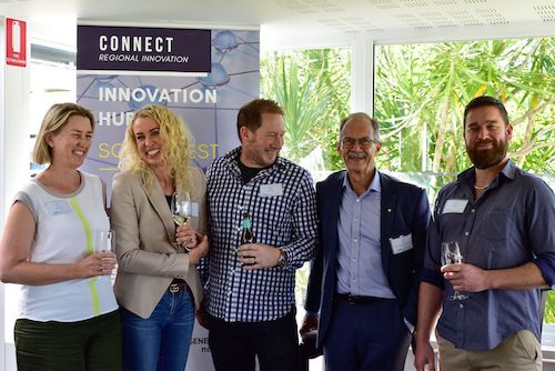 Karina Ayers from the HelpMe Feed Foundation, Amanda Carroll from Rok Kombucha, Ian Atkins from The Beer Farm, WA Government's Chief Scientist Peter Klinken and Cohan Allan, founder of Cryptotax Online.