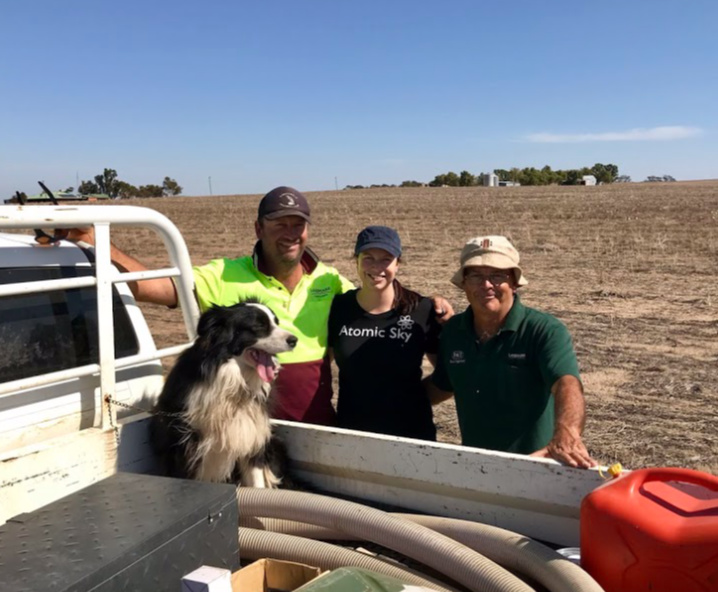 Nastasha Ayers with her brother and father on their farm in Cunderdin