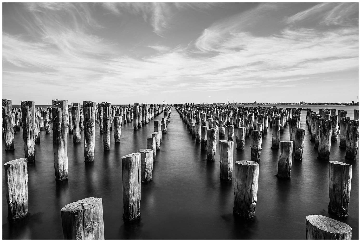 Princess Pier, B&W  Canon 6D + 17-35mm F4/L USM @23mm  Shutter speed: 4.3 seconds  Apeture; f 9.0  ISO: 100  HOYA 10 stop neutral density filter