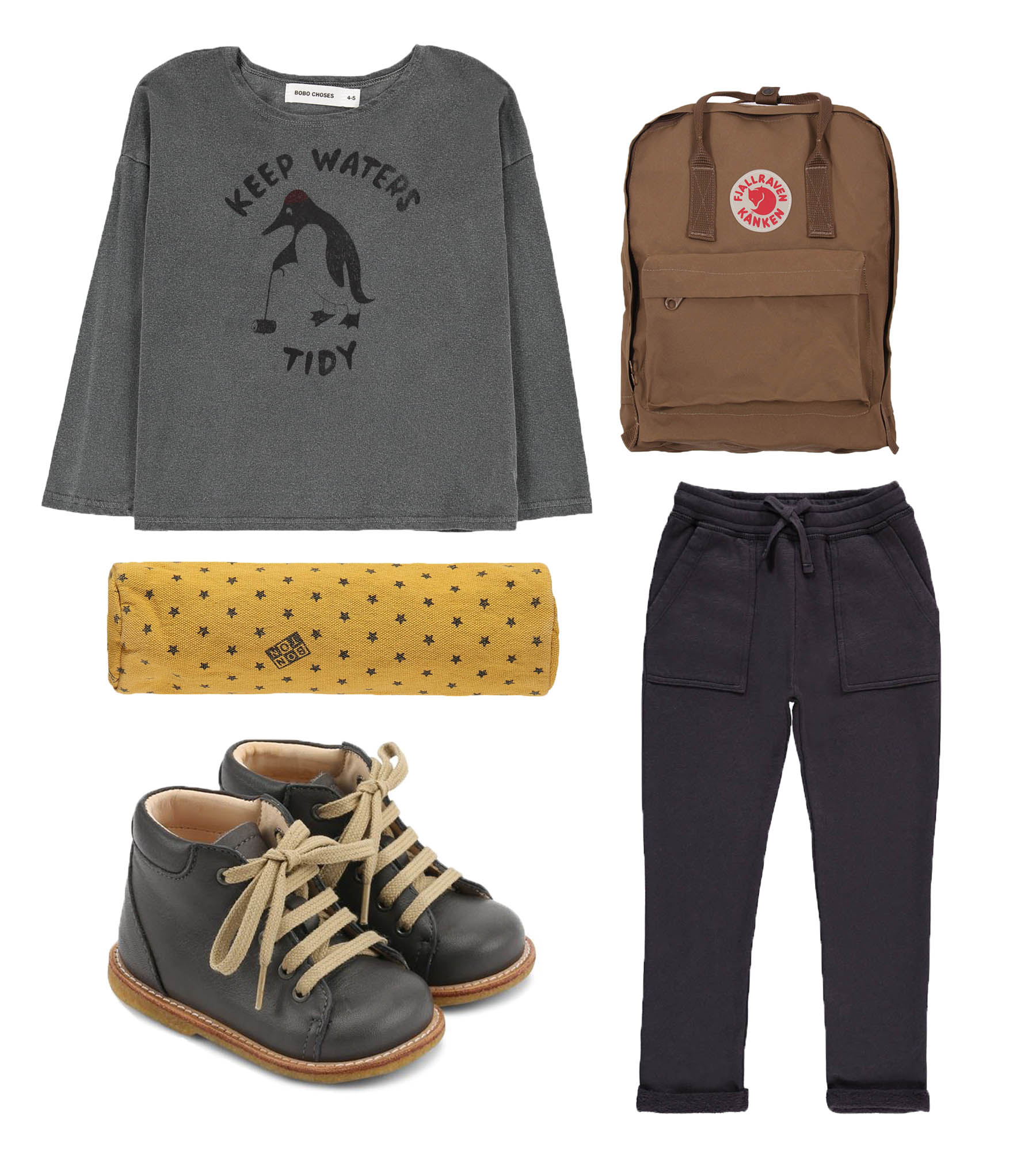 Blouse/ BOBO CHOSES  Pencil case/ BONTON  Shoes/ ANGULUS  Bag/ FJALLRAVEN  Pants/ BONTON