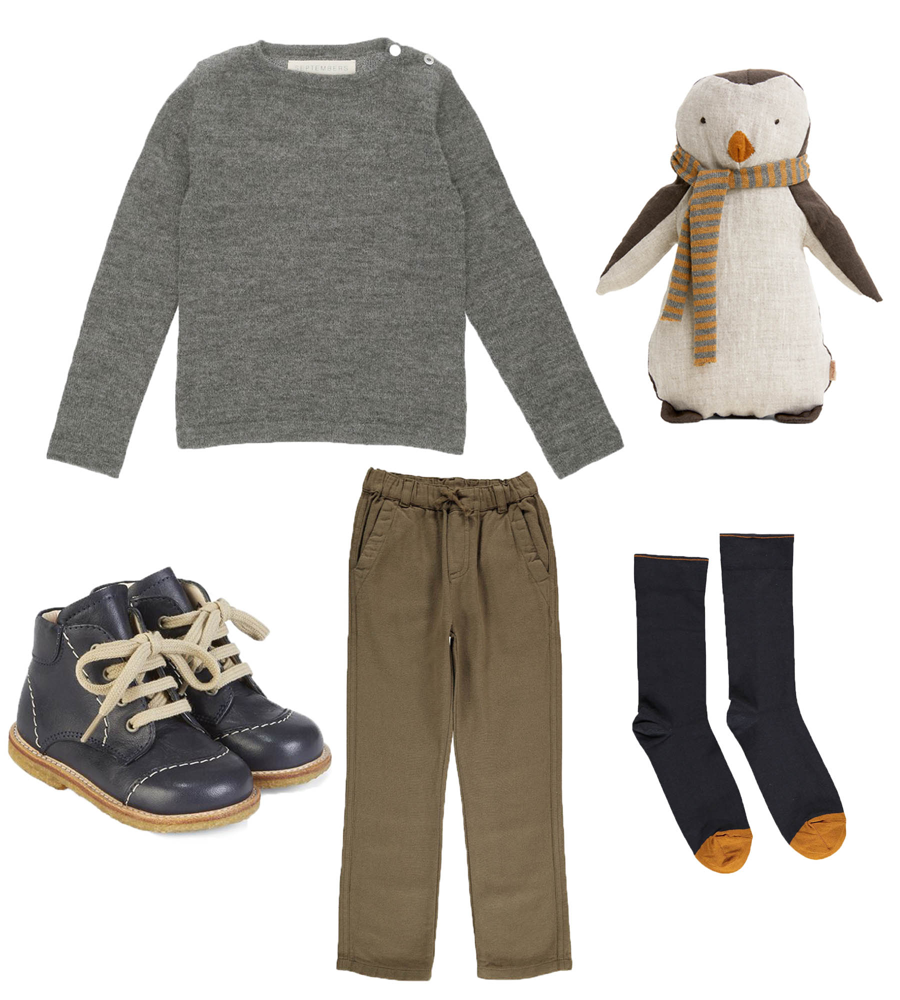 Knit/ SEPTEMBERS  Penguin Boy/ MAILEG  Shoes/ ANGULUS  Pants/ BONTON  Socks/ BONNE MAISON