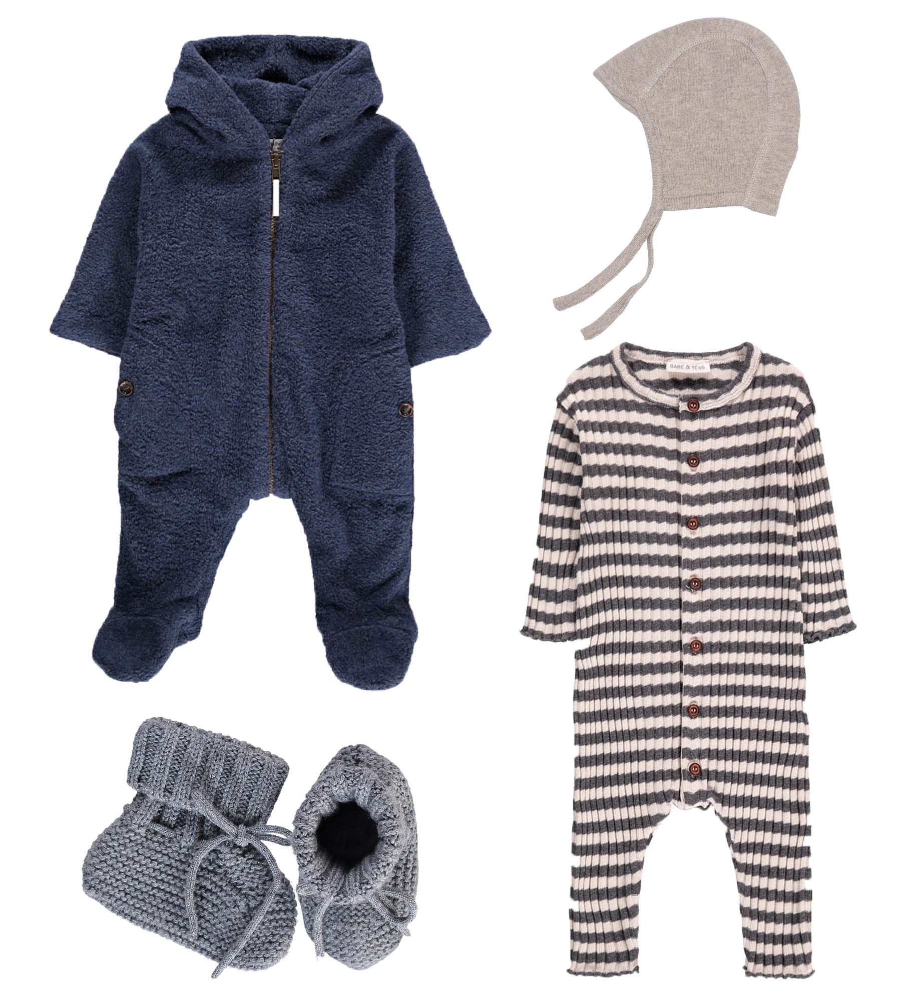 Fleece// 1+ IN THE FAMILY  Wool slippers// FUB  Baby hat// SERENDIPITY  Jumpsuit// BABE & TESS