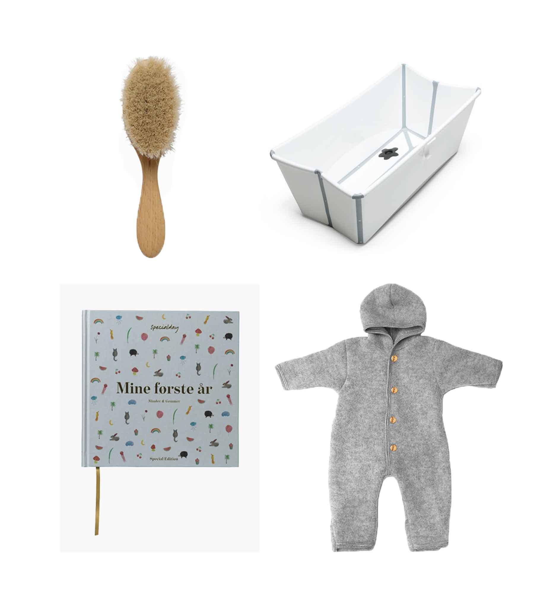 Hairbrush// CROLL & DENECKE Scrapbook// SPECIALDAY  Bath// STOKKE Fleece suit// ENGEL