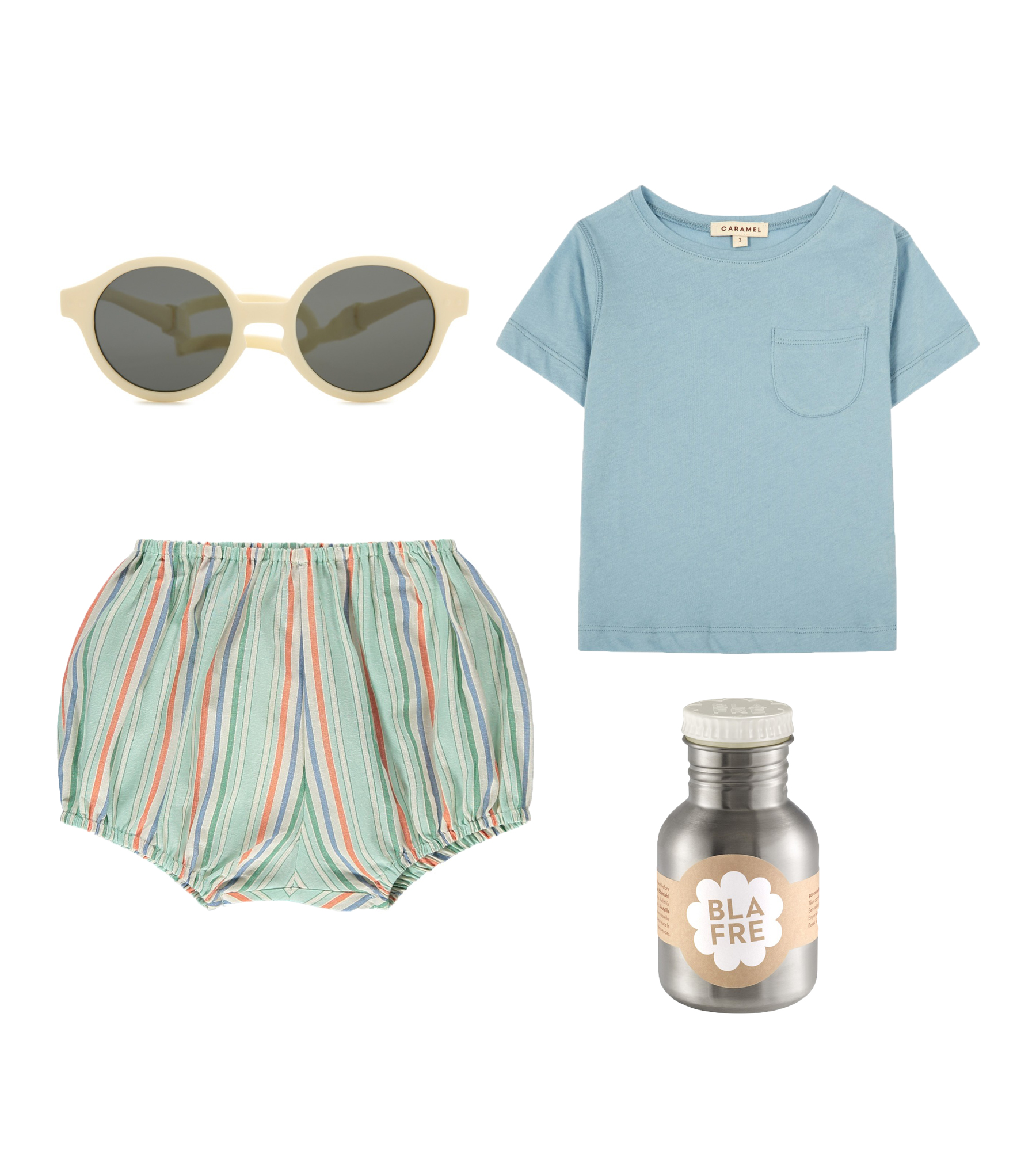 Sunglasses/ IZIPIZI  T-shirt/ CARAMEL  Bloomers/ CARAMEL  Water bottle/ BLAFRE