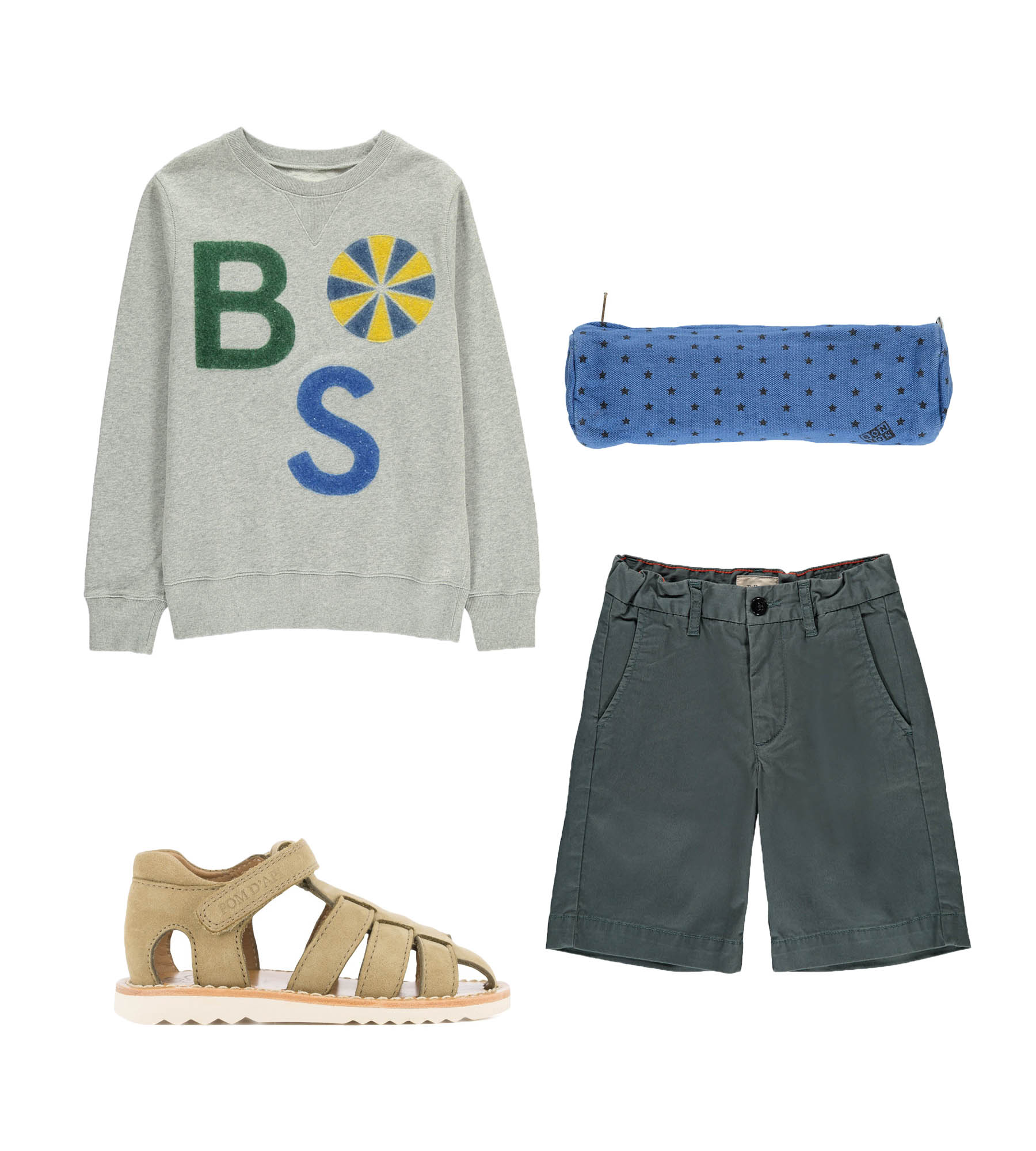 Sweatshirt/ BELLEROSE  Sandals/ POM D'API  Pencil case/ BONTON  Shorts/ BELLEROSE