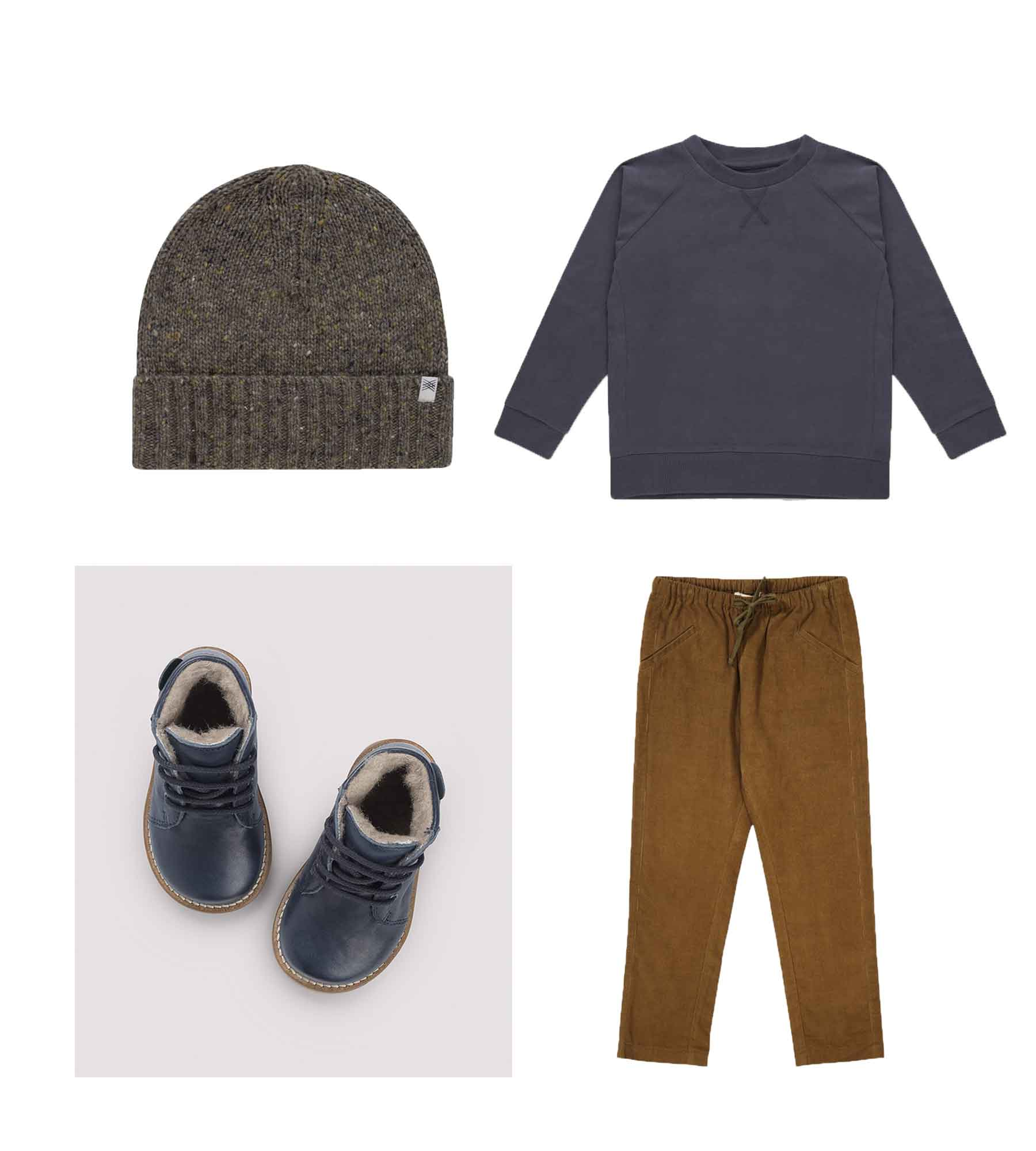 Knit hat/ REPOSE AMS  Sweat tee/ REPOSE AMS  Shoes/ PETIT NORD  Trousers/ CARAMEL