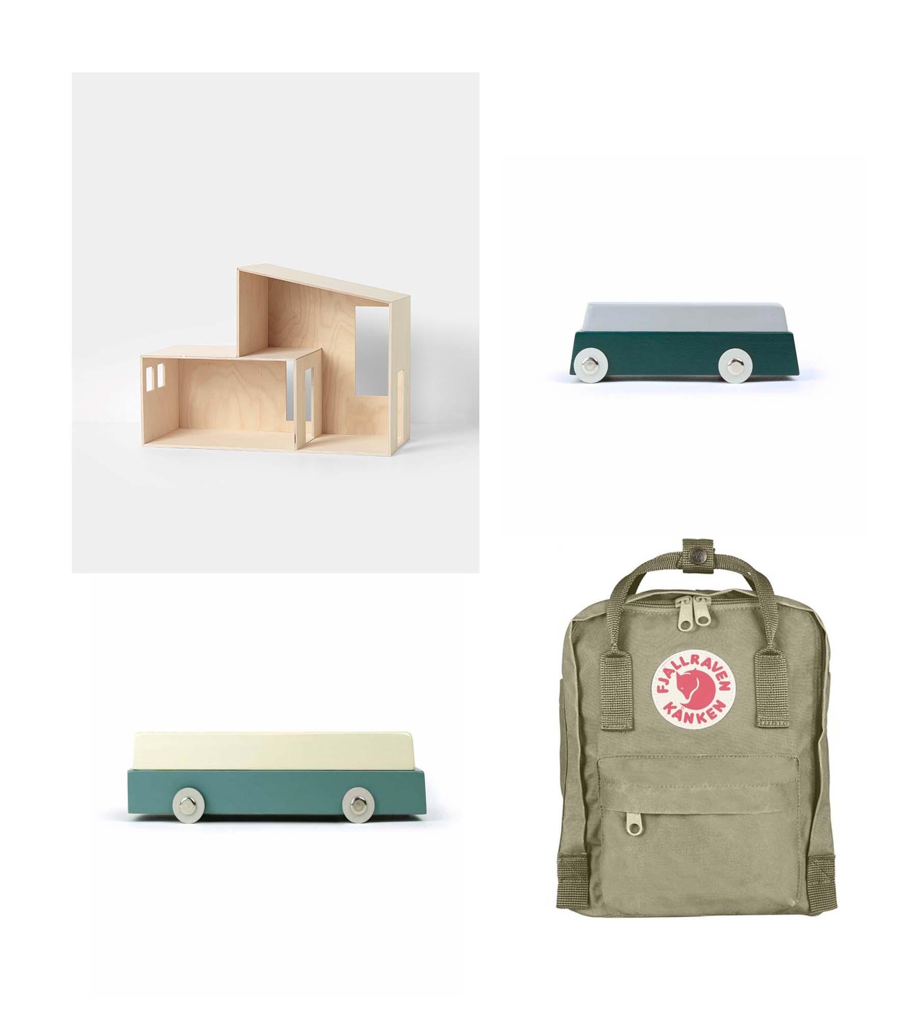 House/ FERM LIVING KIDS  Cars/ IKONIC TOYS  Bag/ FJALLRAVEN