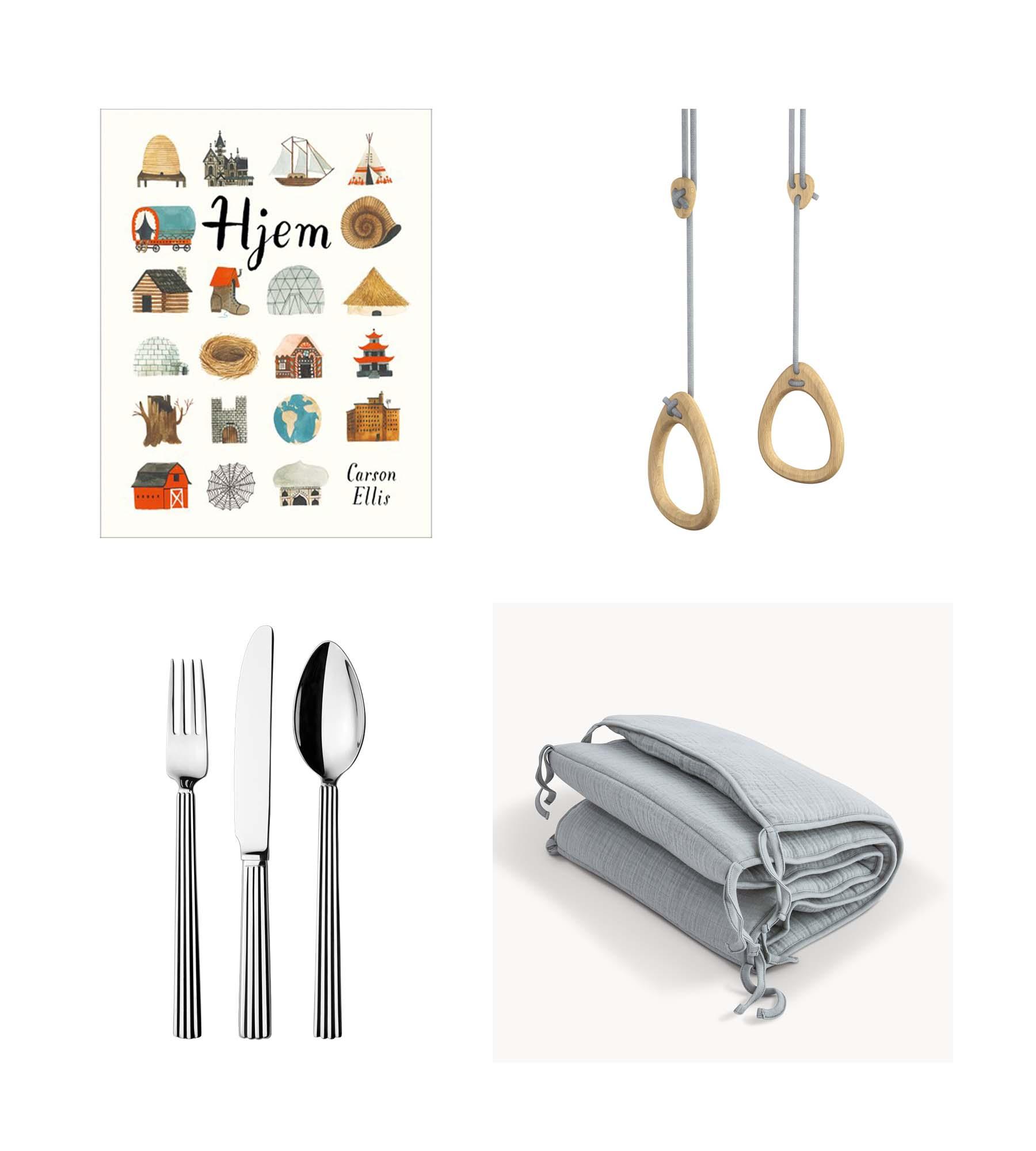 Book/ CARSON ELLIS: HJEM  Gymnastic rings/ LILLAGUNGA  Cutlery set/ GEORG JENSEN  Bed bumper/ MOUMOUT