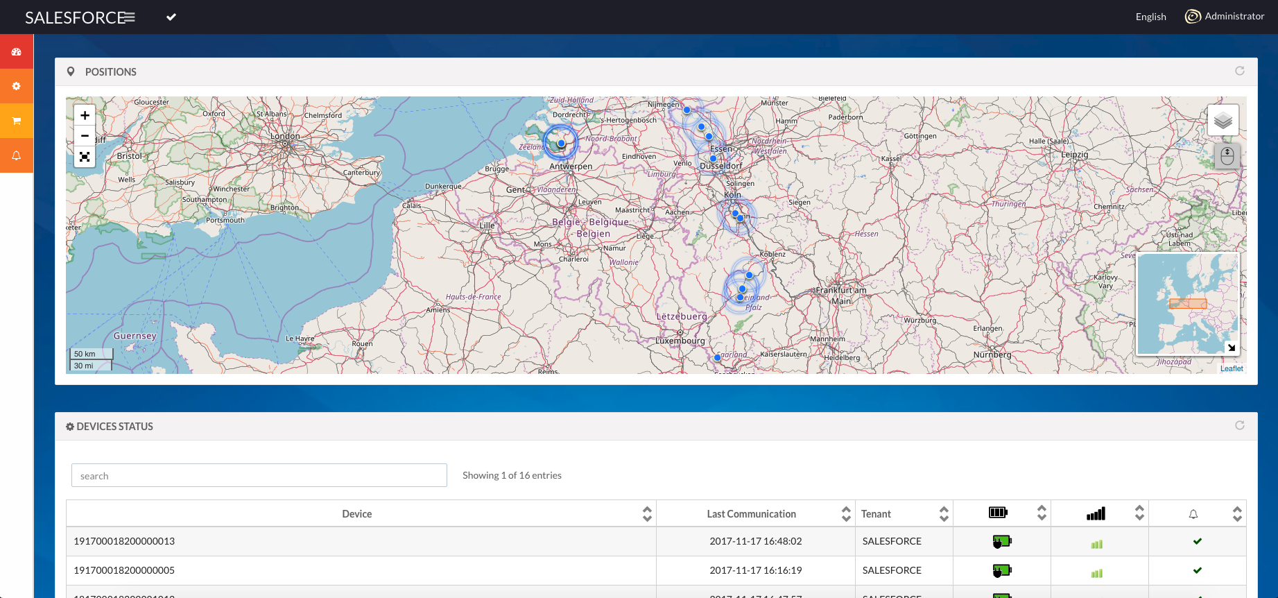 A screenshot of one of our tracking application, here for delivery by boats through rivers