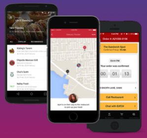 Screenshots of some of our mobile applications, communicating directly with end customers