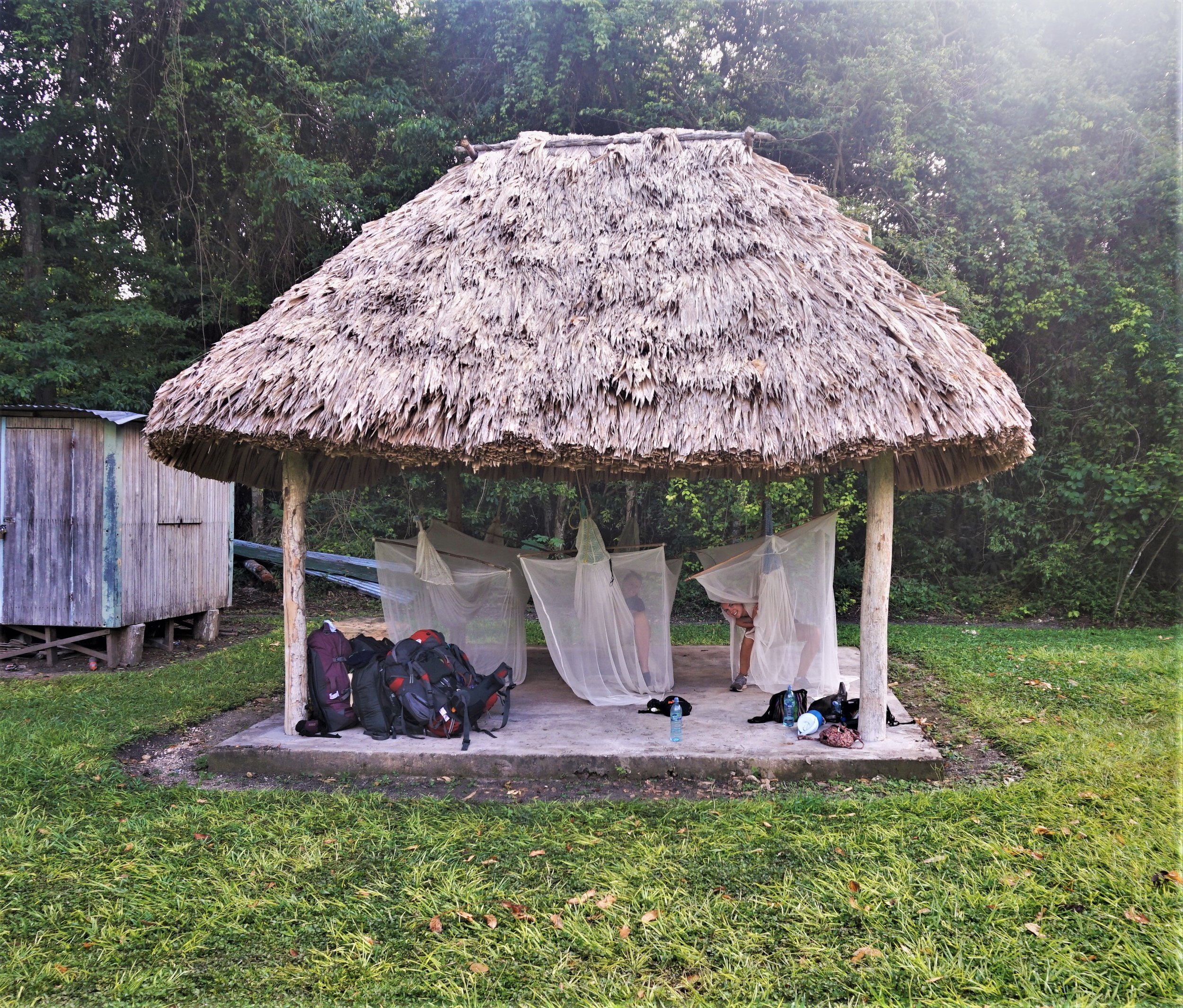 Hammocks camping at the Tikal ruins guatemala