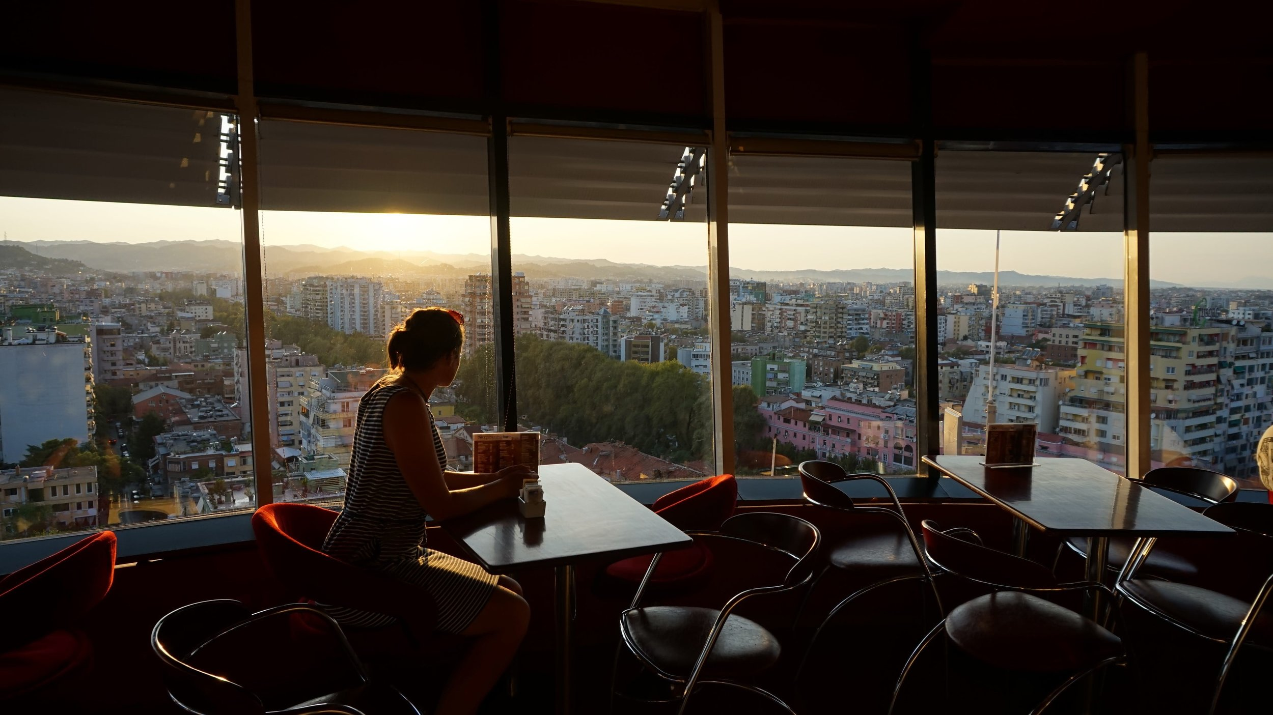 One of the best things to do in Albania is visit the rotating bar in Tirana