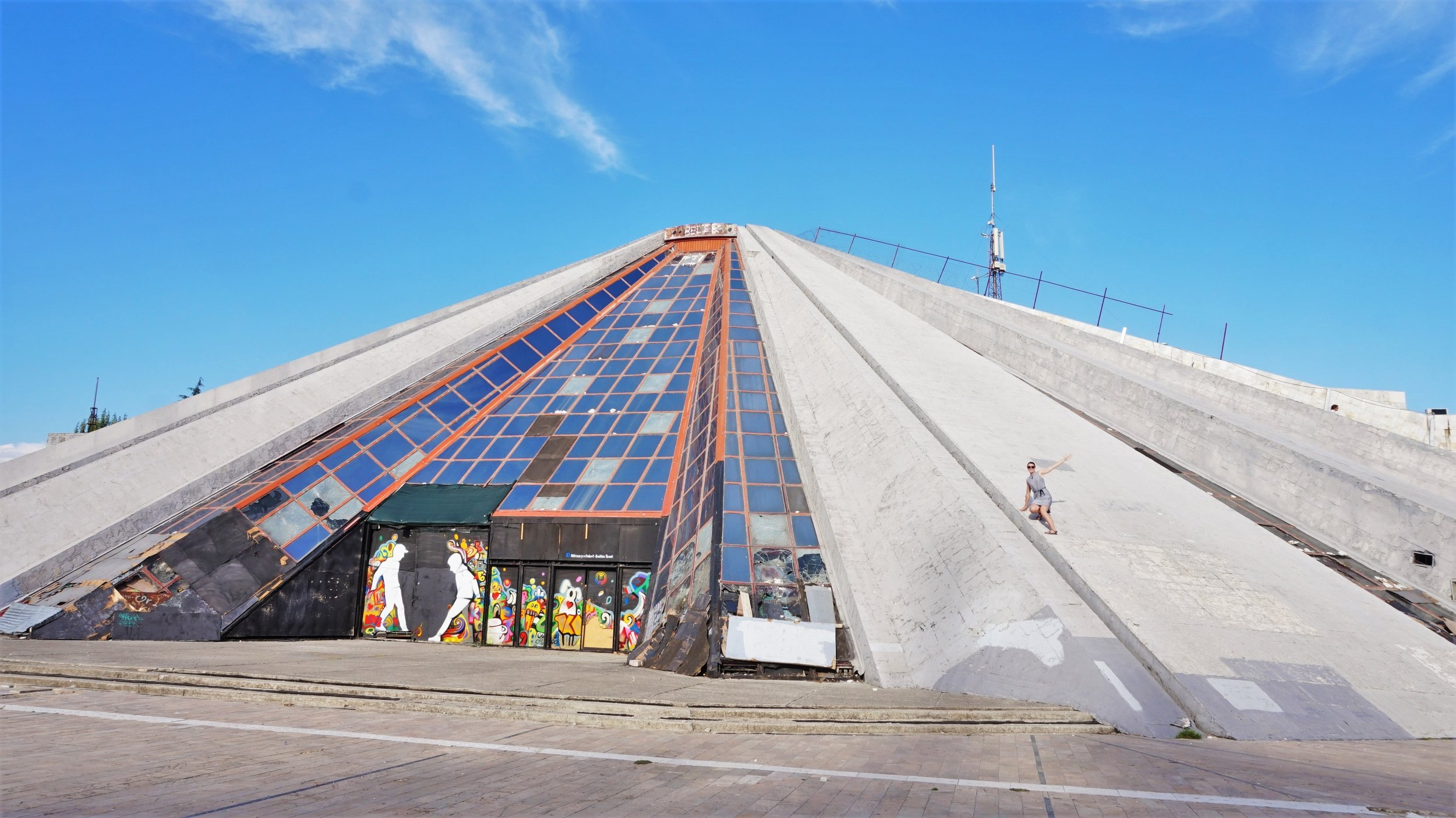 Visiting the abandoned Pyramid in the city centre is one of the best things to do in Tirana, Albania!