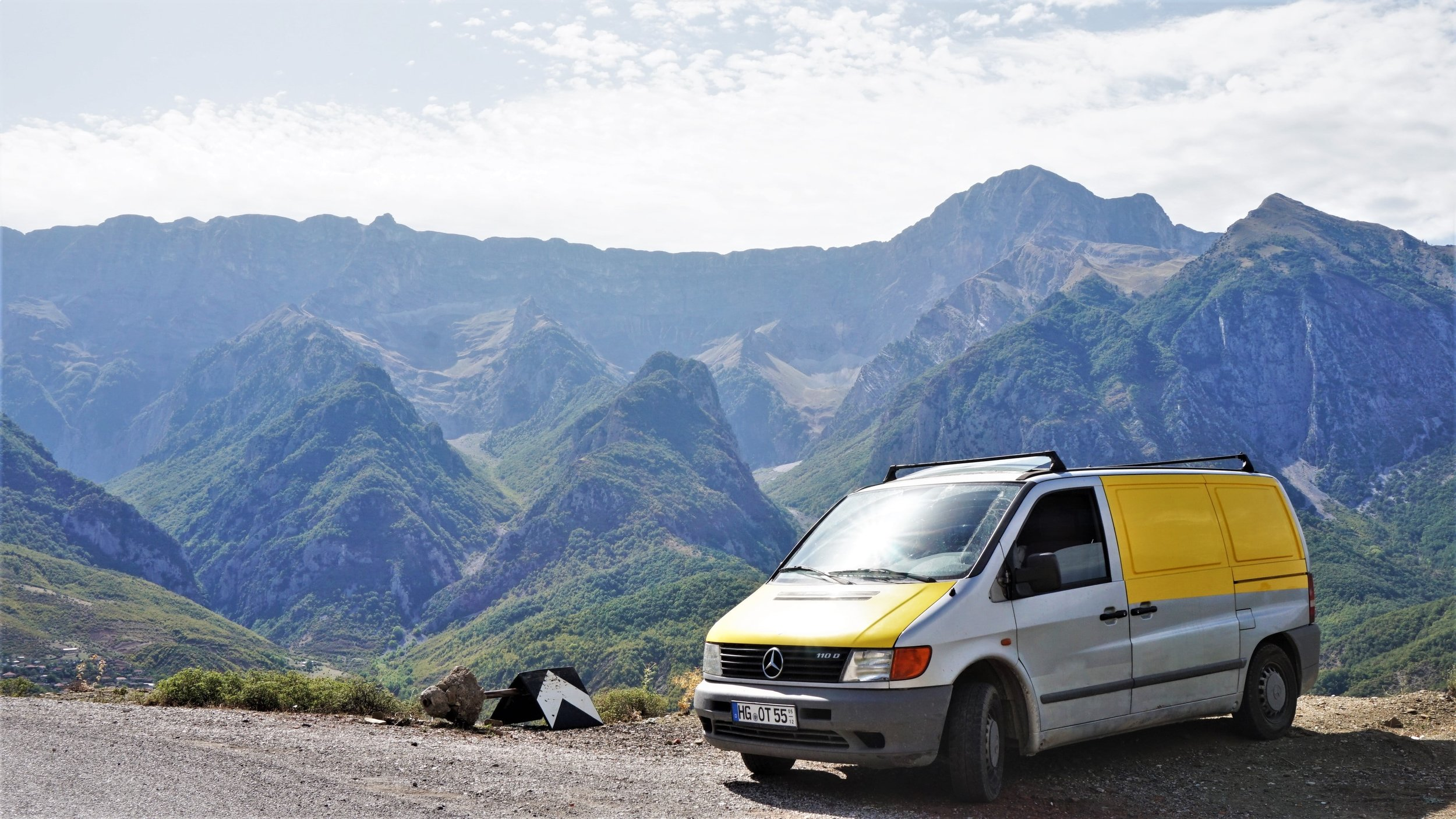van pulled over on the side of the road while driving in the Balkans