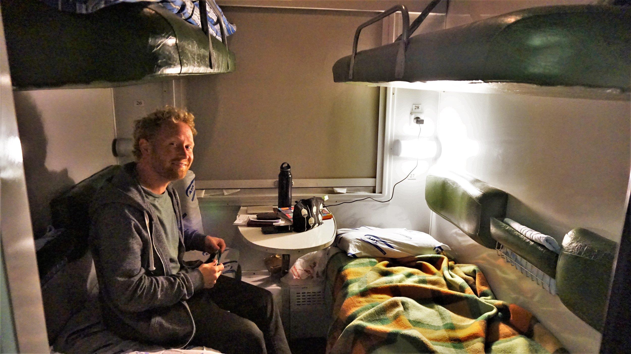 Max on the overnight train from Tbilisi to Baku, Azerbaijan