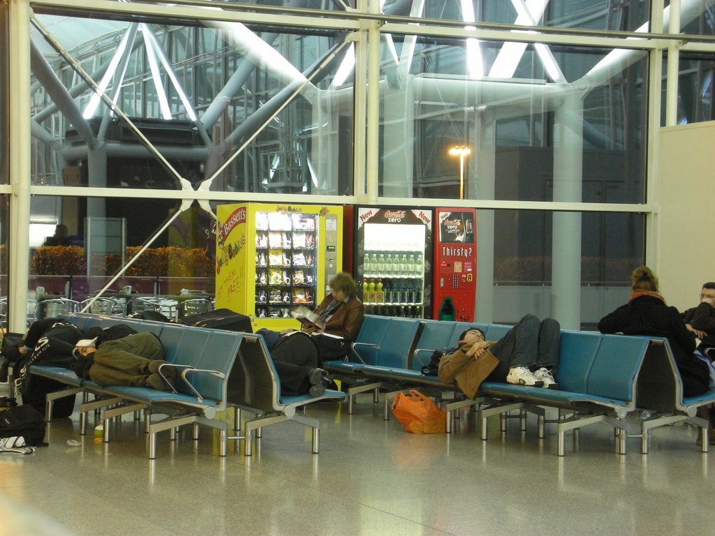 save money on accommodation - sleep at the airport