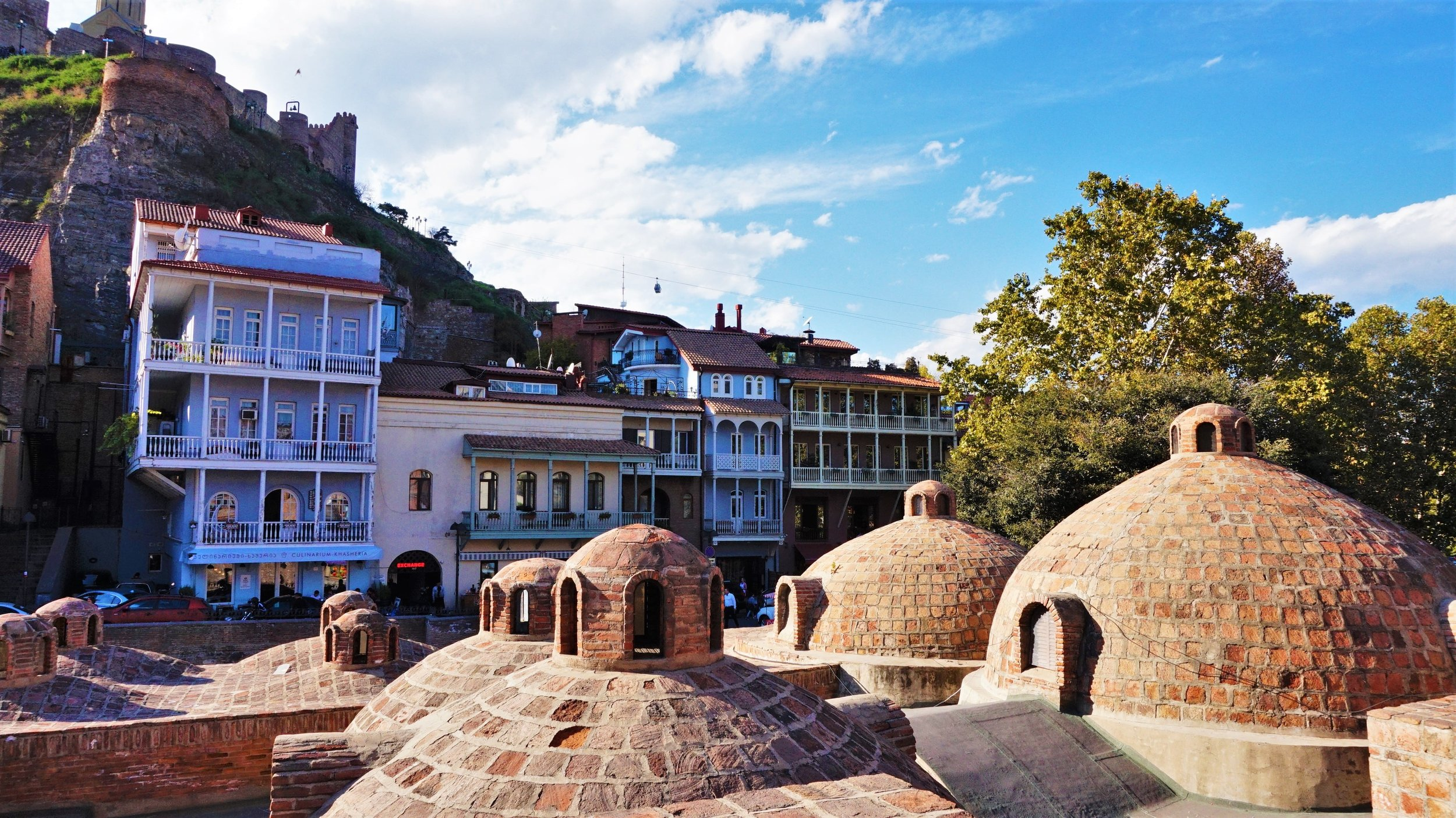 the roofs of Abanotubani. Soaking in the Tbilisi sulphur baths is one of the best thing to do in Tbilisi