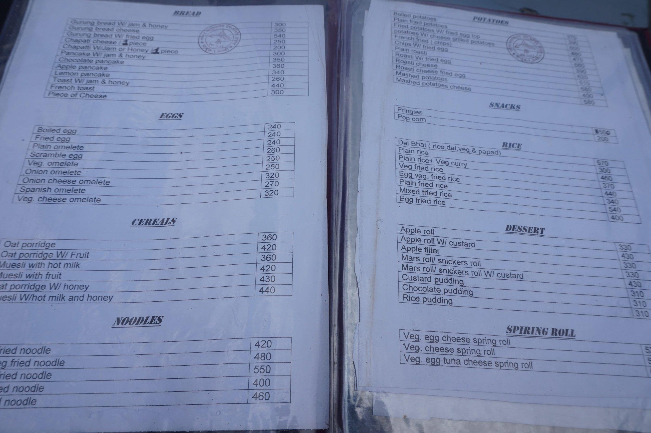 The menu is very similar at the tea houses along the trek.