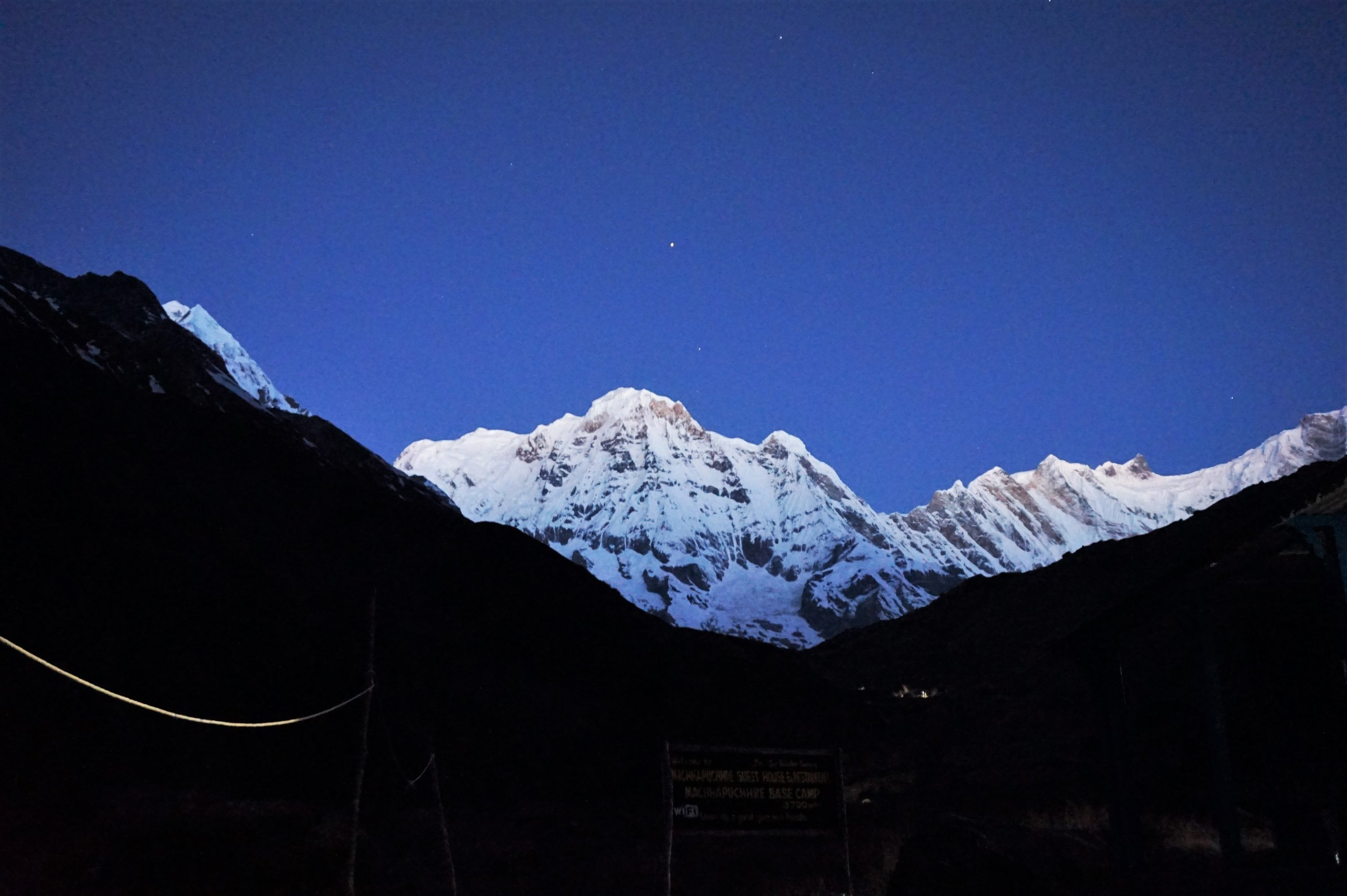 Early morning views of Annapurna peak from the Annapurna Base Camp.
