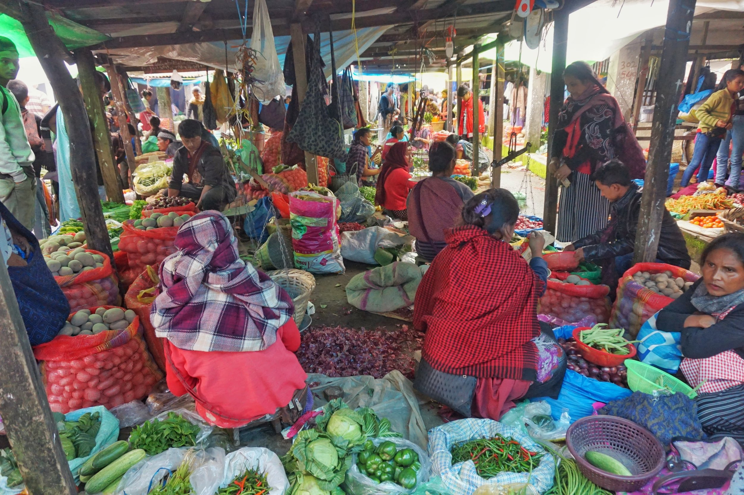 The market in Cherrapunji is a must visit destination while Backpacking in Meghalaya.