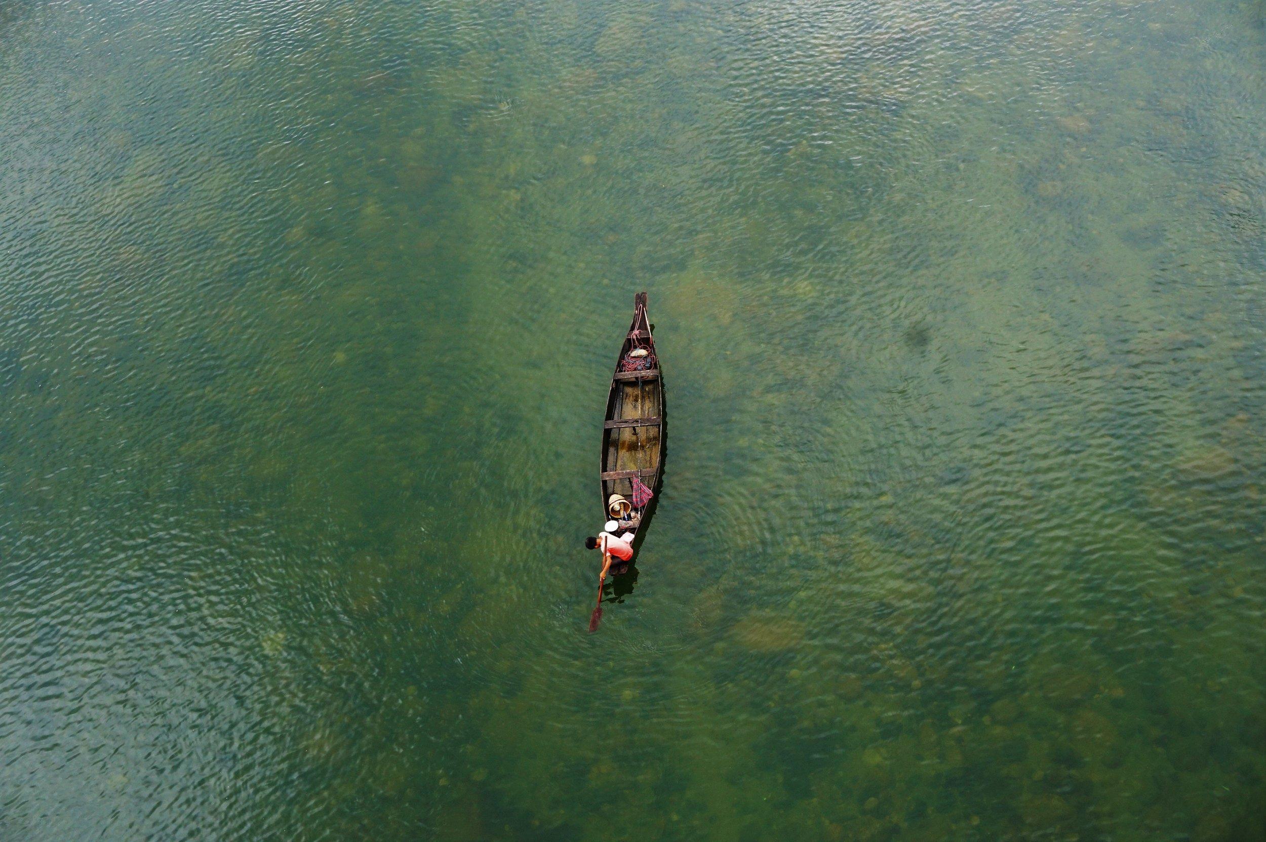 Backpacking Meghalaya. River near Shnongpdeng is a must visit destination.