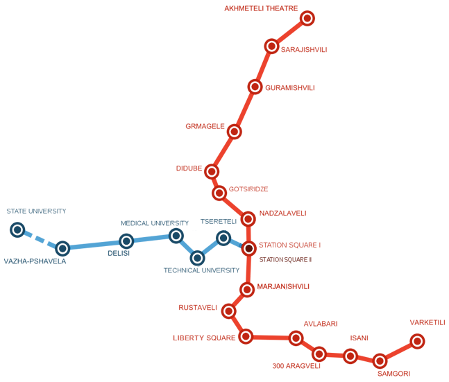 Tbilisi metro system map, for easy public transport in Tbilisi.