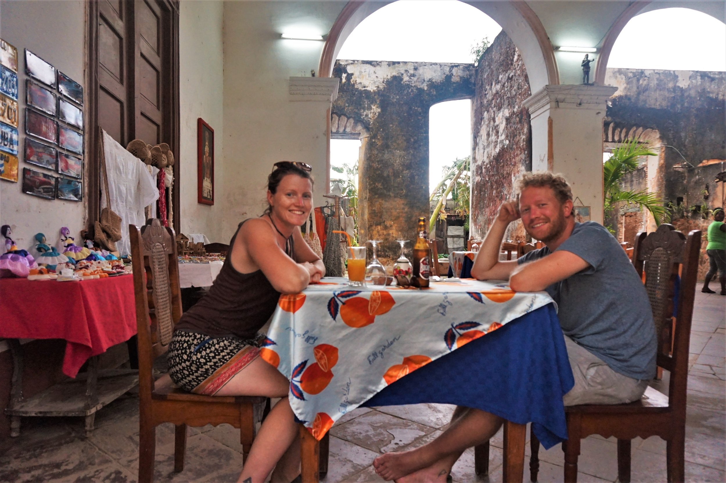 dinner at a local restaurant while backpacking in Cuba on a budget.