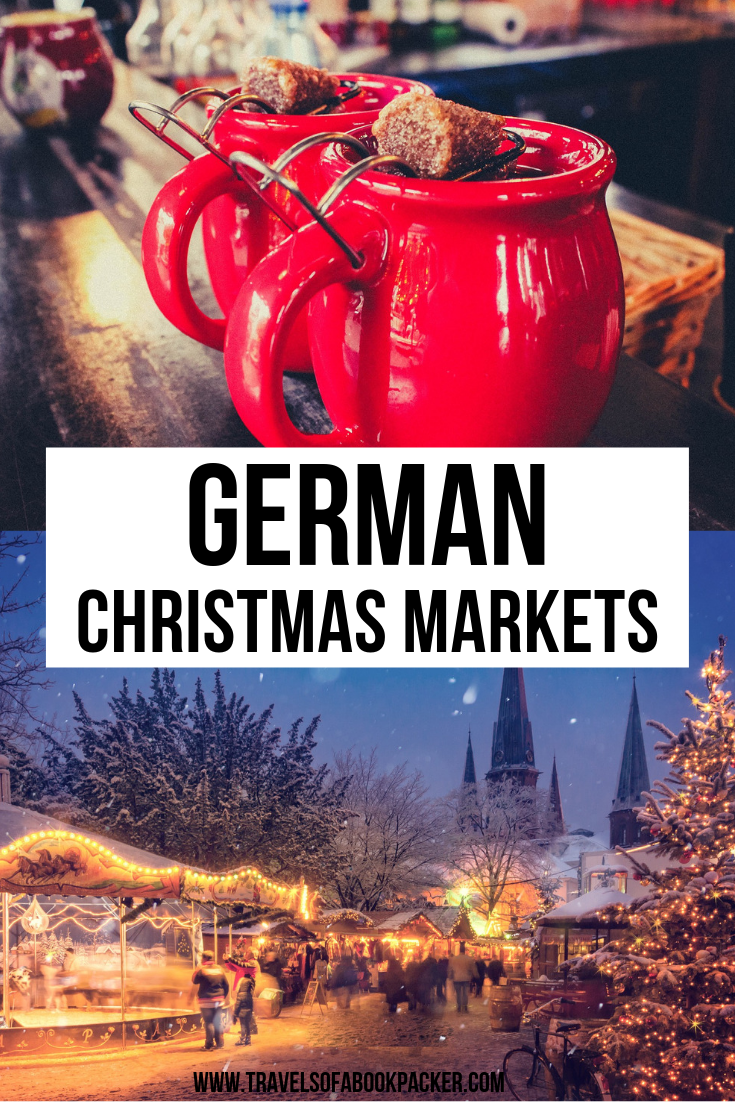 Planning a winter trip to Europe? Don't miss the gorgeous German Christmas Markets. Read about delicious things to try at a traditional German Christmas market. #christmasmarket #germany #winter #glühwein #mulledwine #food #christmastree #christmastime #travel #fairytale #xmas #europe #frankfurt #travel #traveltips #traveller #travelguide #fairytalemarkets #germanchristmasmarkets